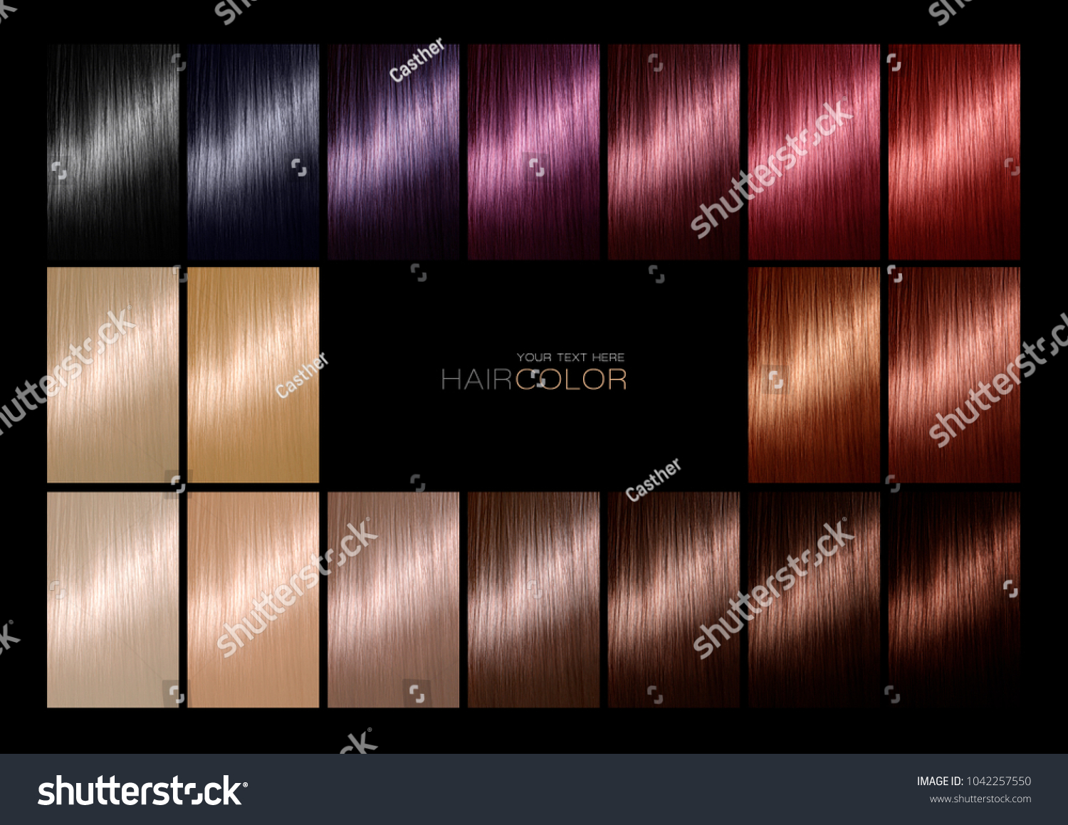 Hair Color Palette Range Swatches Showing Stock Photo Edit Now