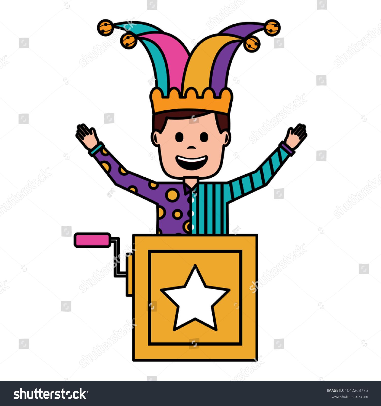 Joker Jumping Jack Box Surprise Fools Stock Vector (Royalty Free ...