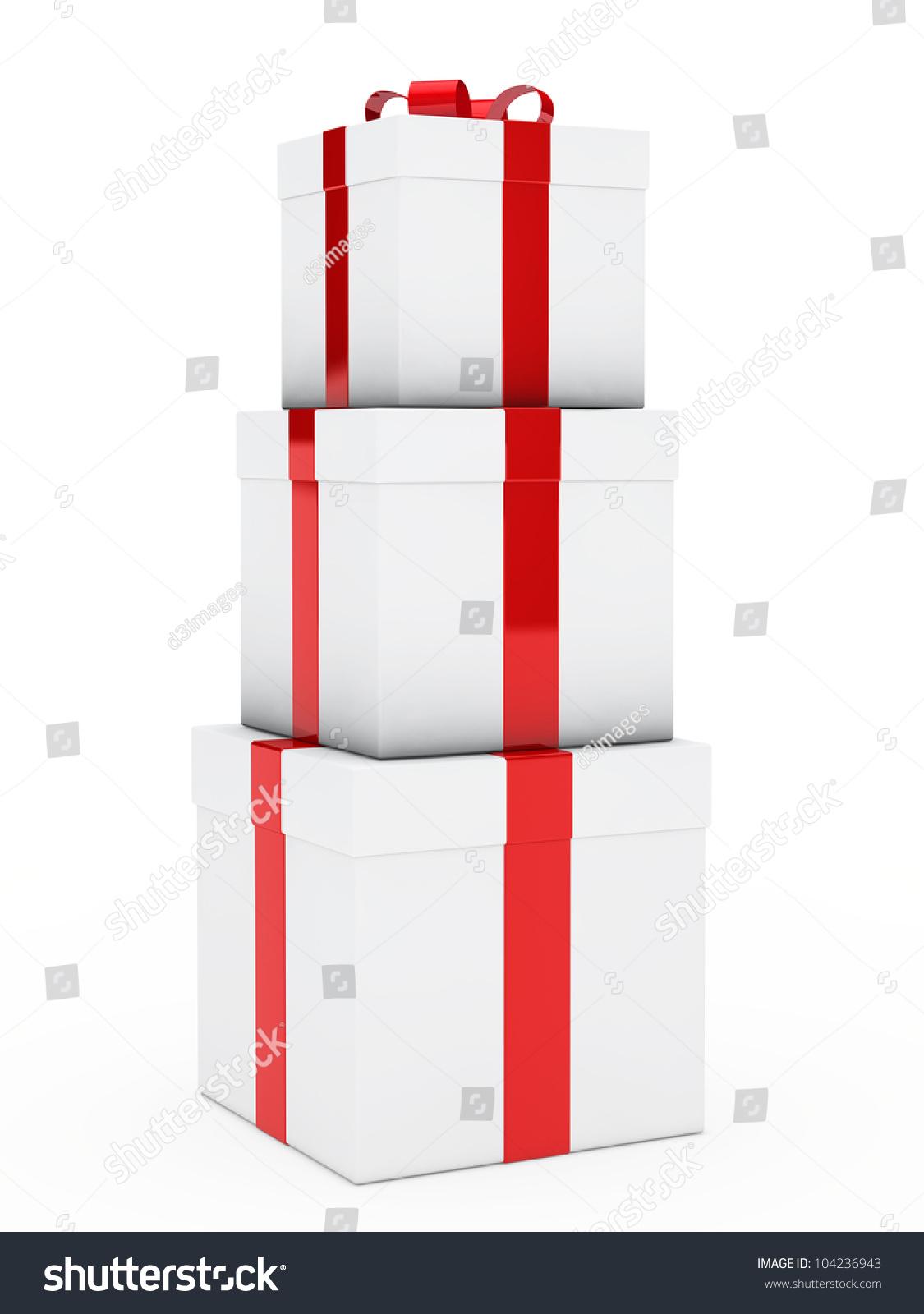 Christmas Three Gift Boxes Red White Stock Illustration 104236943 ...