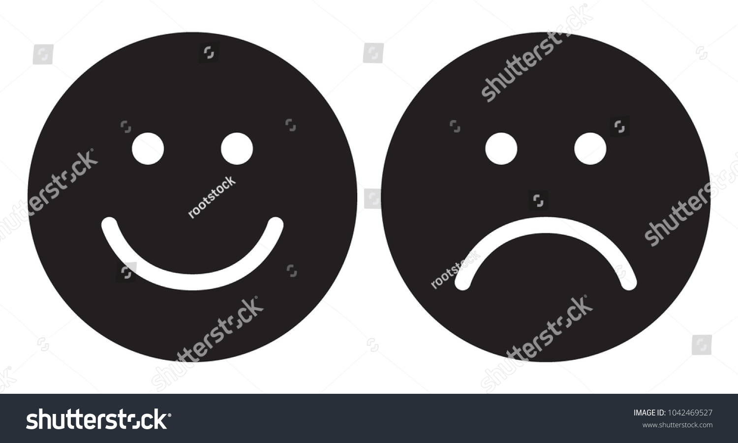 Happy Sad Face Icons Smiley Face Stock Vector Royalty Free