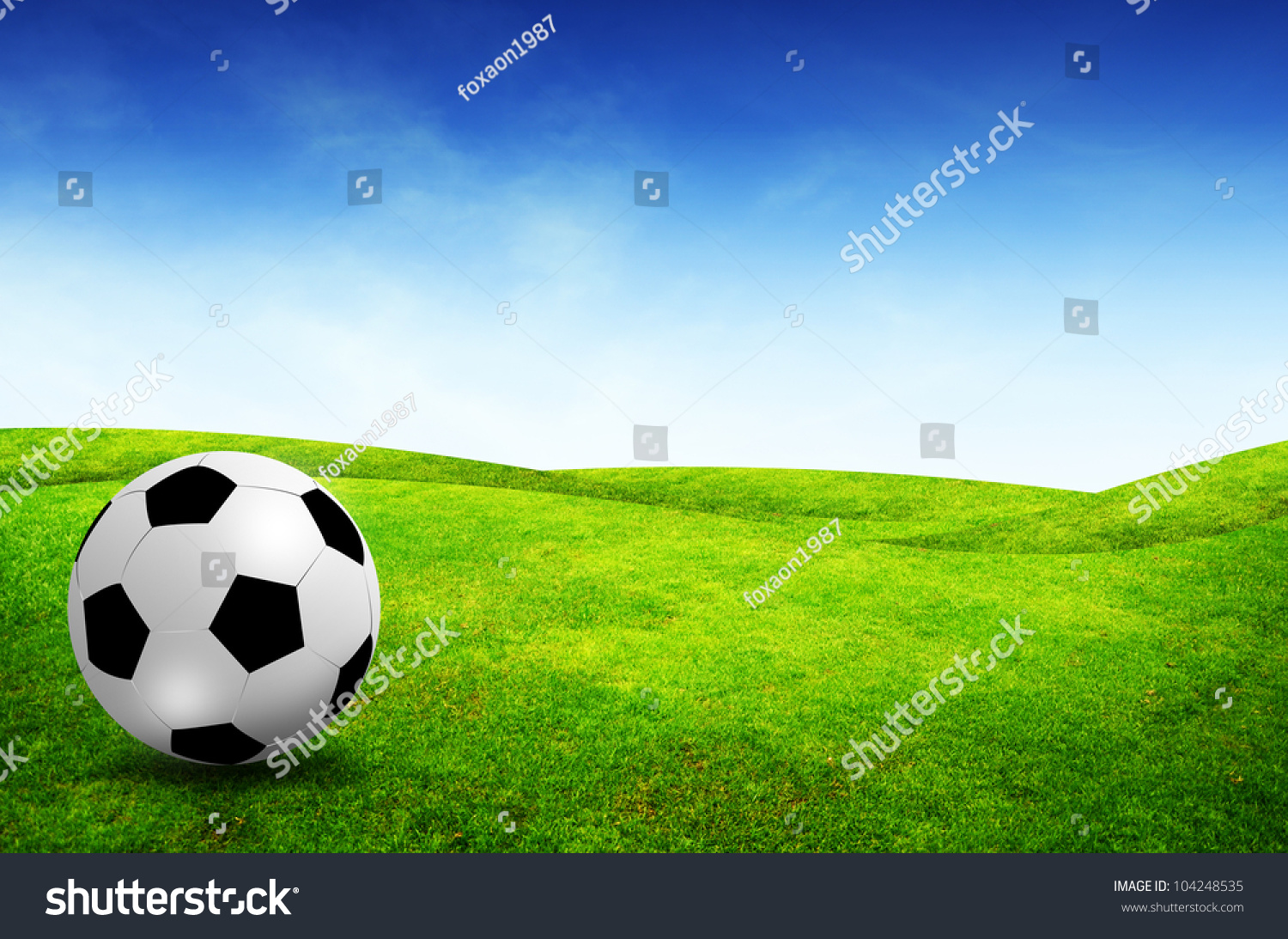 Soccer Football On Green Field With Blue Sky Background: Football Field Soccer Stadium On Green Stock Illustration