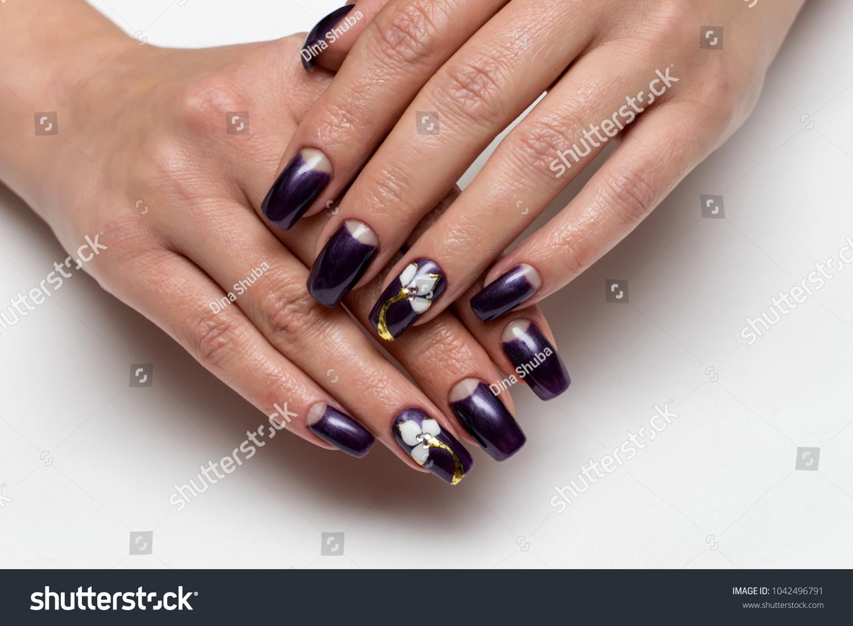 Dark Purple Manicure On Square Long Stock Photo (Royalty Free ...