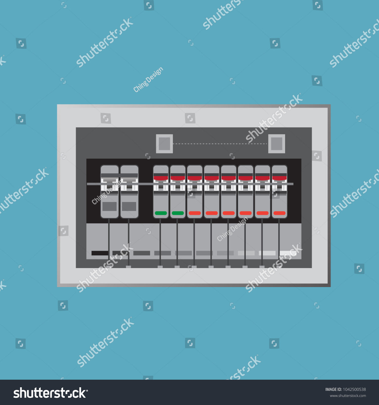 Electrical Panel Switch On Off Breakers Vector Stock Vector (2018 ...