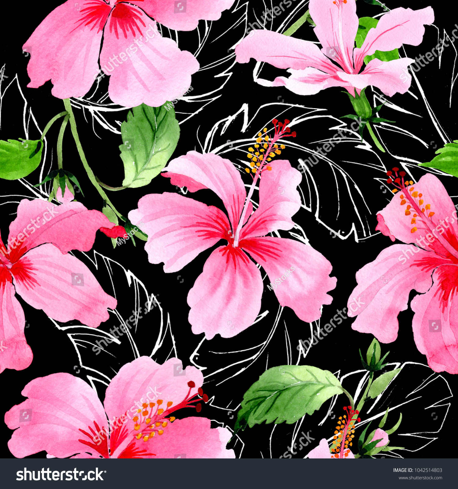 Wildflower hibiscus pink flower pattern in a watercolor style full id 1042514803 izmirmasajfo