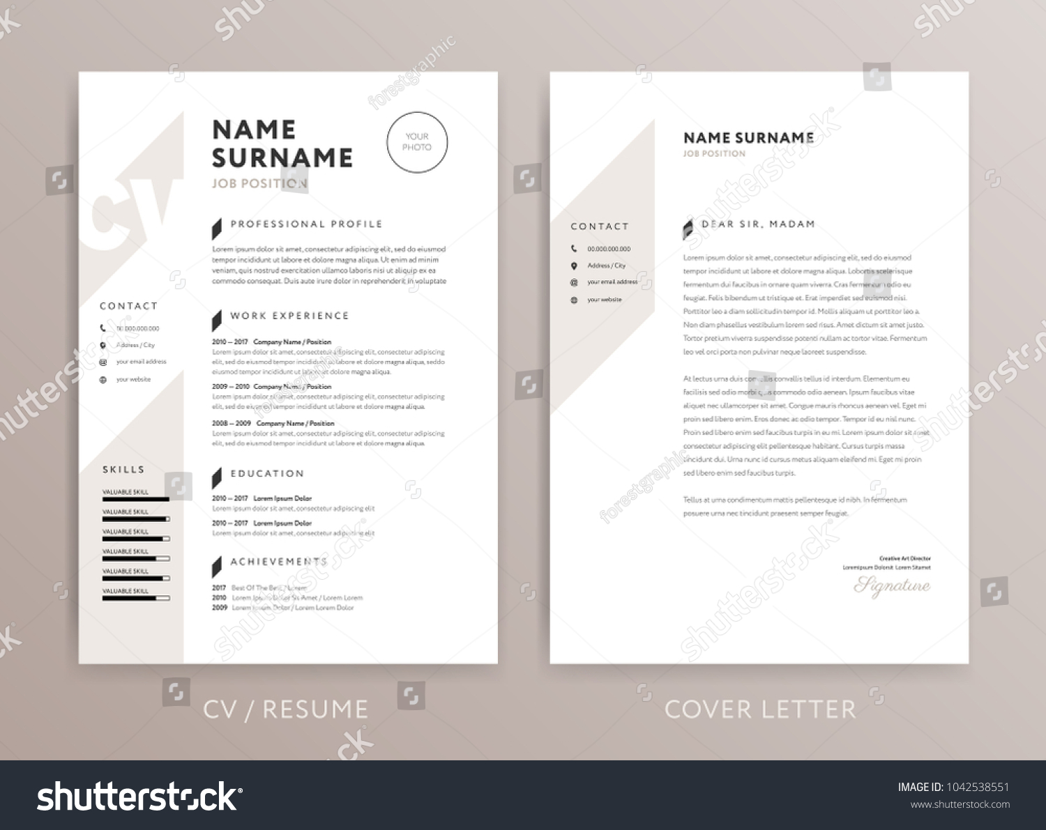 Stylish curriculum vitae cv cover letter stock vector hd royalty stylish curriculum vitae cv and cover letter design template rose brown color vector background spiritdancerdesigns Gallery