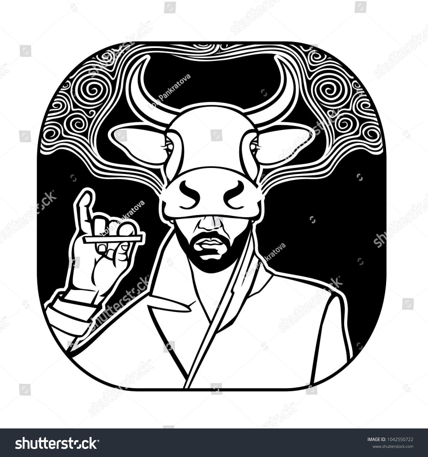 Man Smoking Cigarette Mask Cow Stock Vector (2018) 1042550722 ...