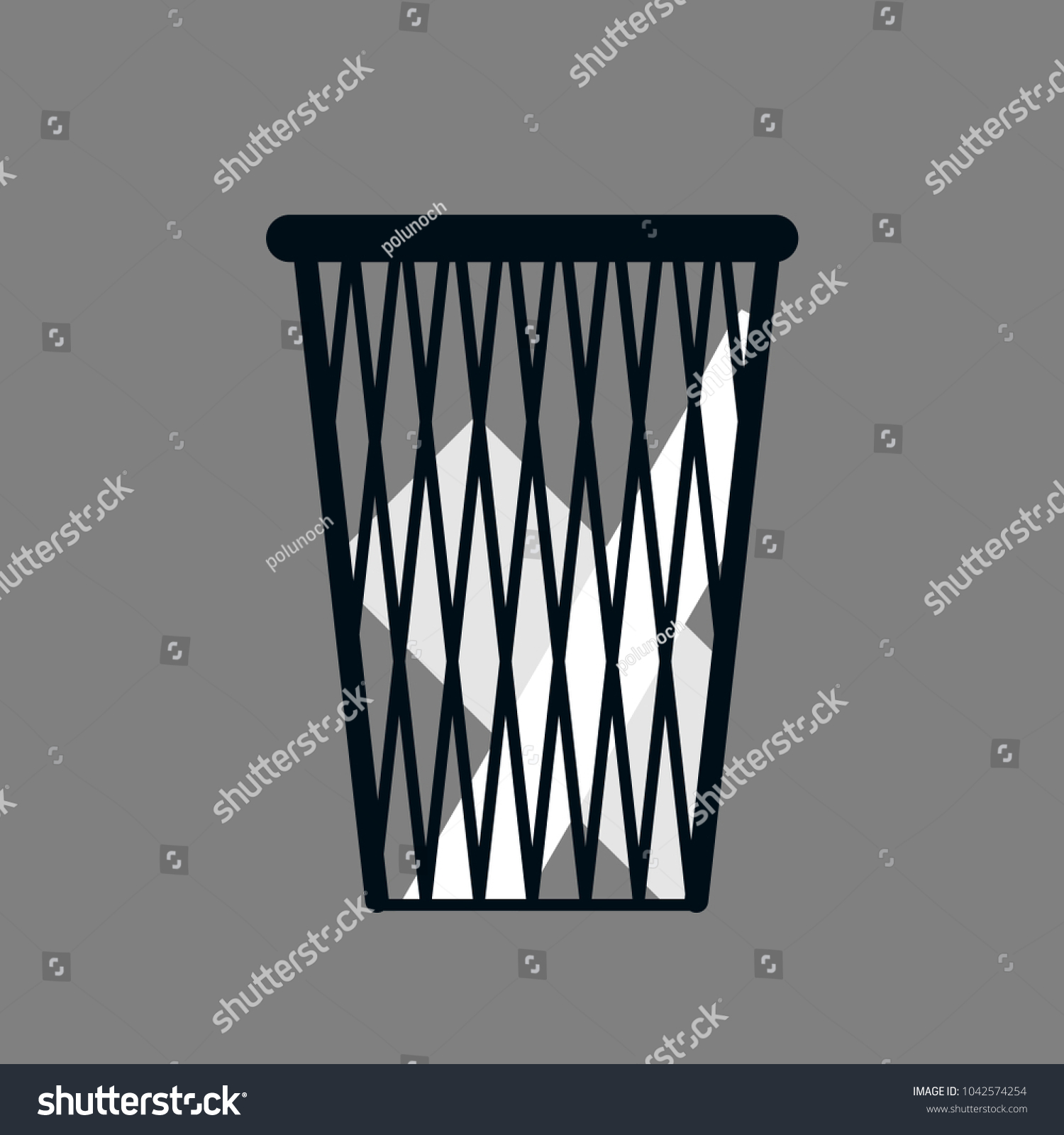 Office Waste Paper Basket With Papers Isolated On Gray Background   Flat  Style
