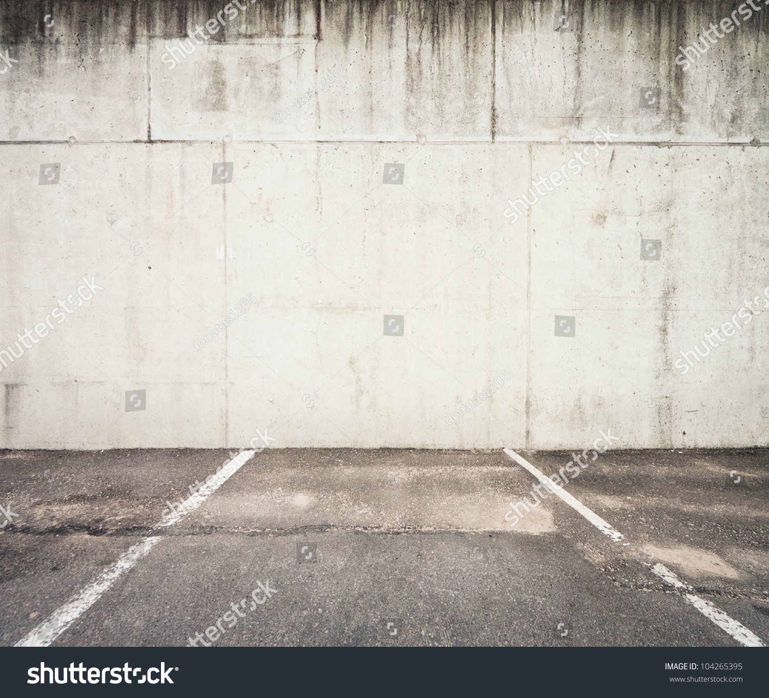 Concrete parking wall stock photo 104265395 shutterstock for Lots of pictures on wall