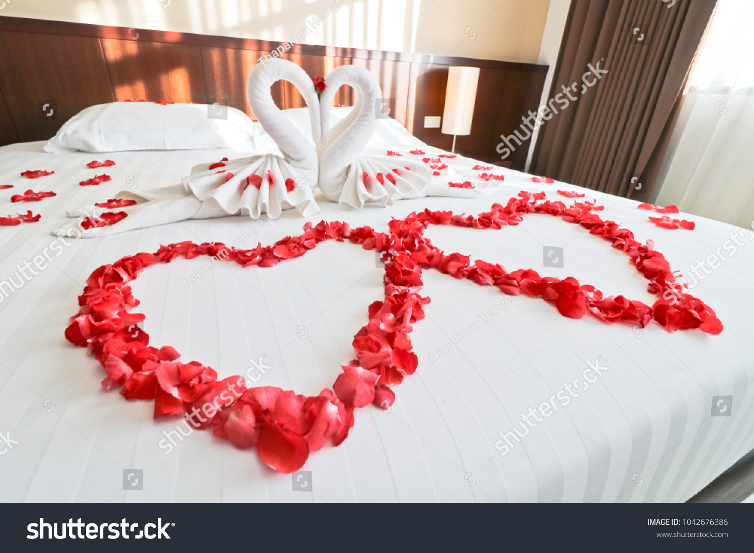 Bedroom Has White Towel Shaped Like Stock Photo Edit Now 1042676386