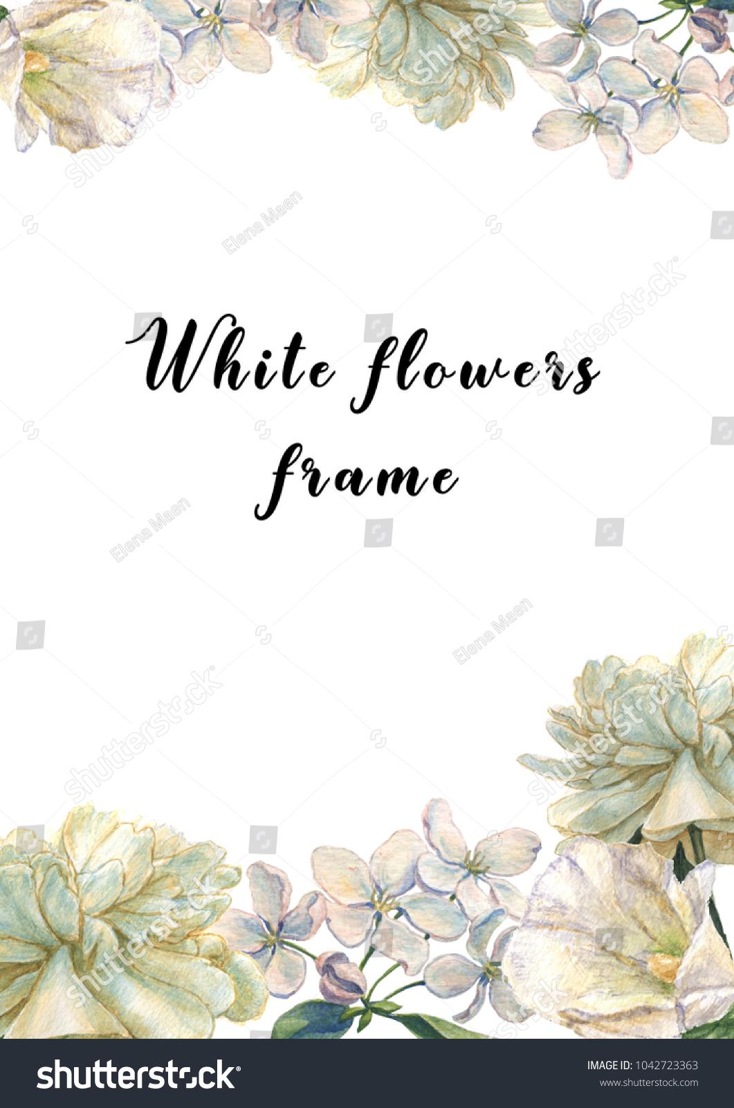 Watercolor Hand Drawn Frame Design White Stock Illustration