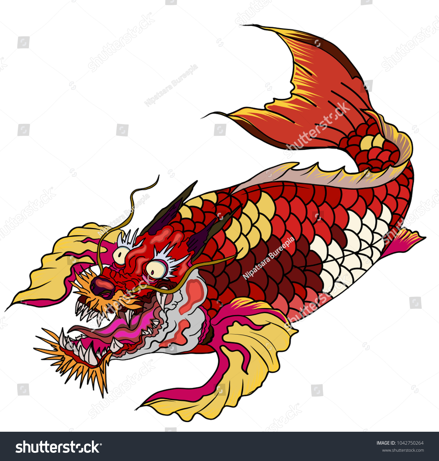 Hand Drawn Koi Fish Dragon Head Japanese Stock Vector (2018 ...