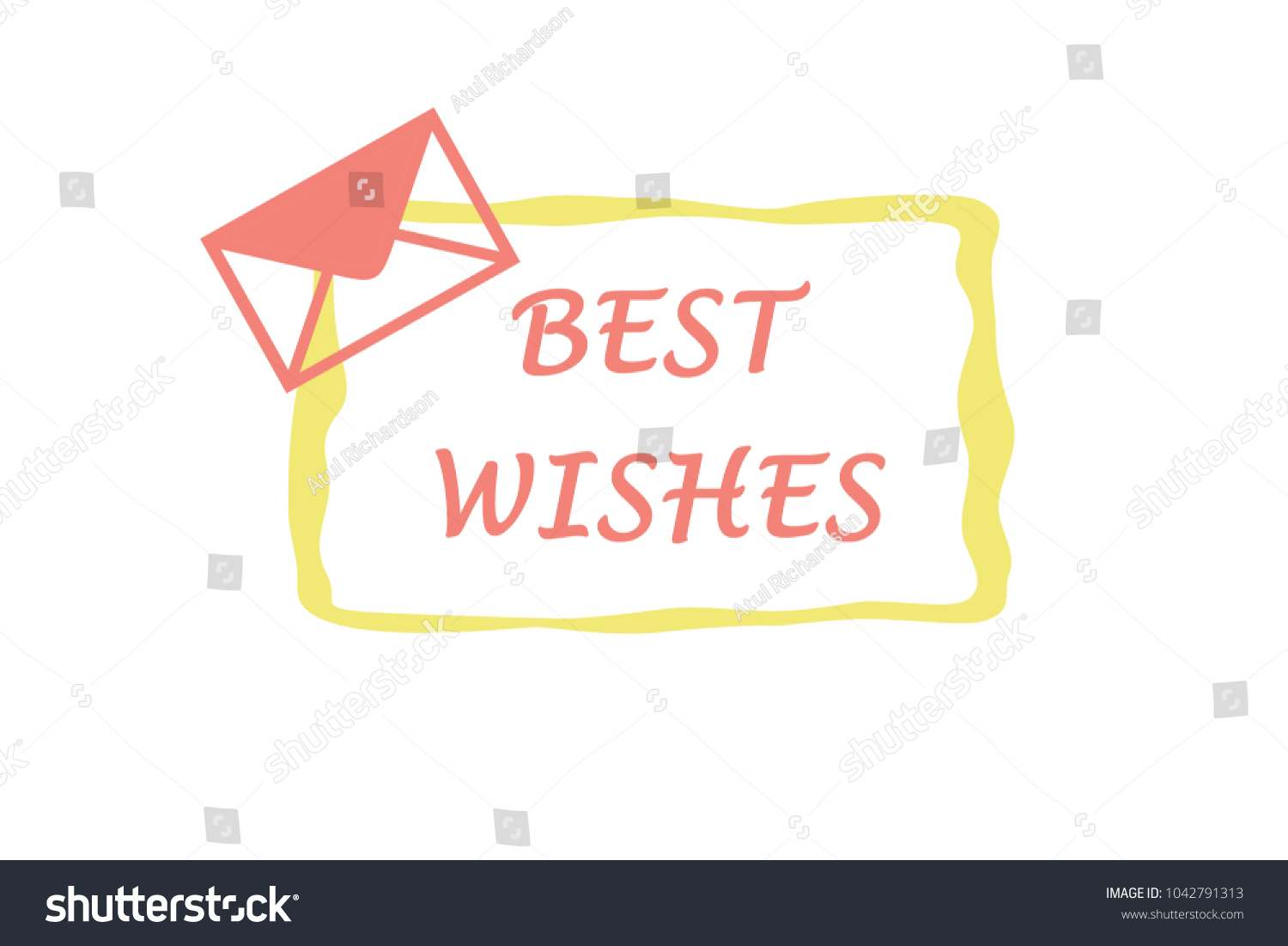 Best Wishes Greetings Yellow Pink Stock Illustration 1042791313