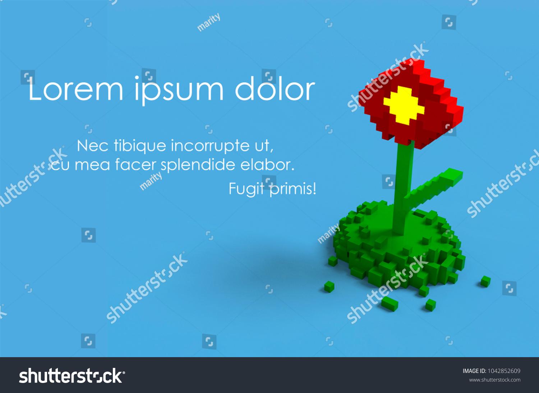 3 D Illustration Red Flower Voxel Render Stock Illustration ...