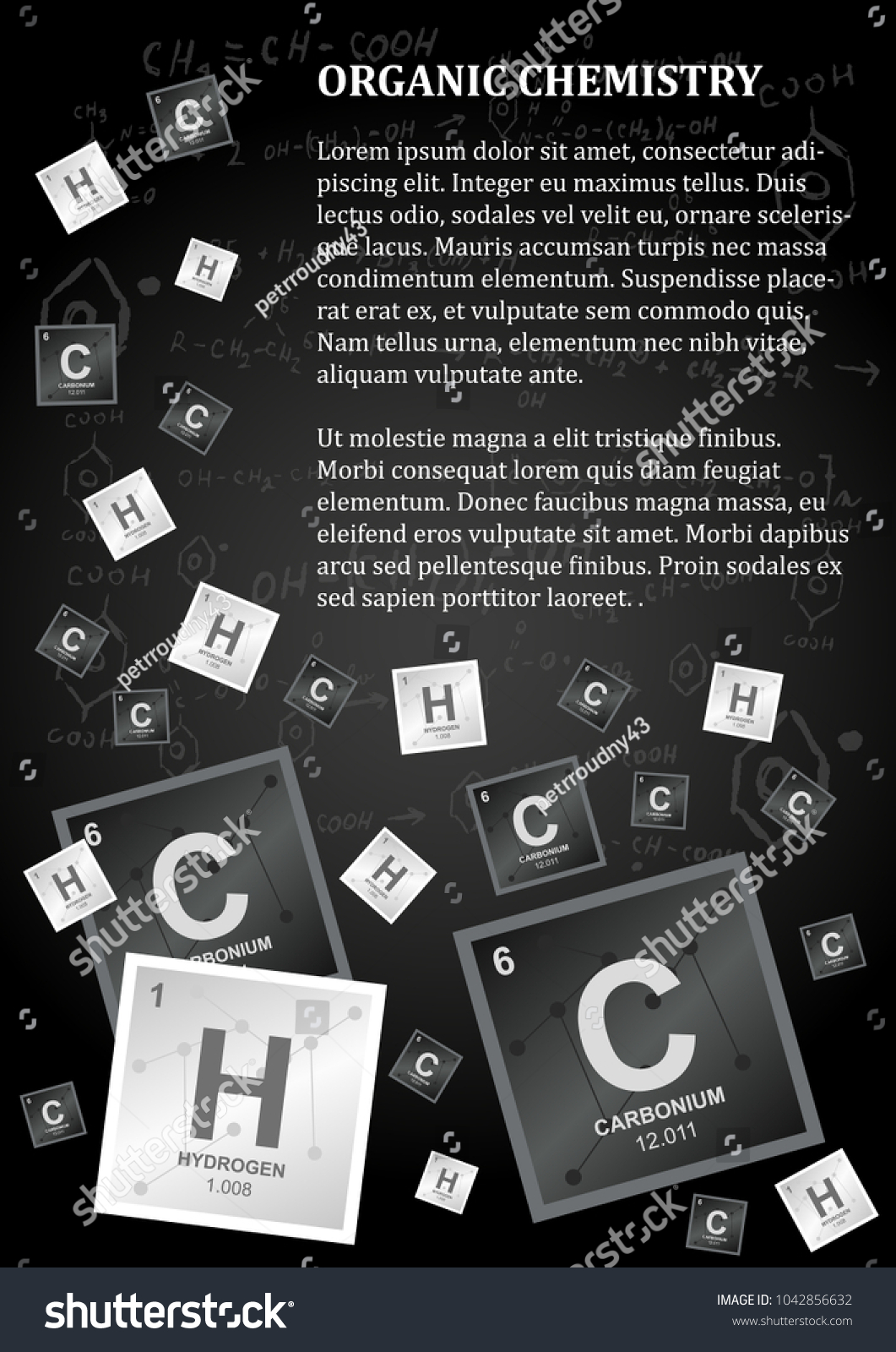 Organic chemistry design in dark colors with a paragraph of text and carbon hydrogen and chemical reactions and formulas on a background vector