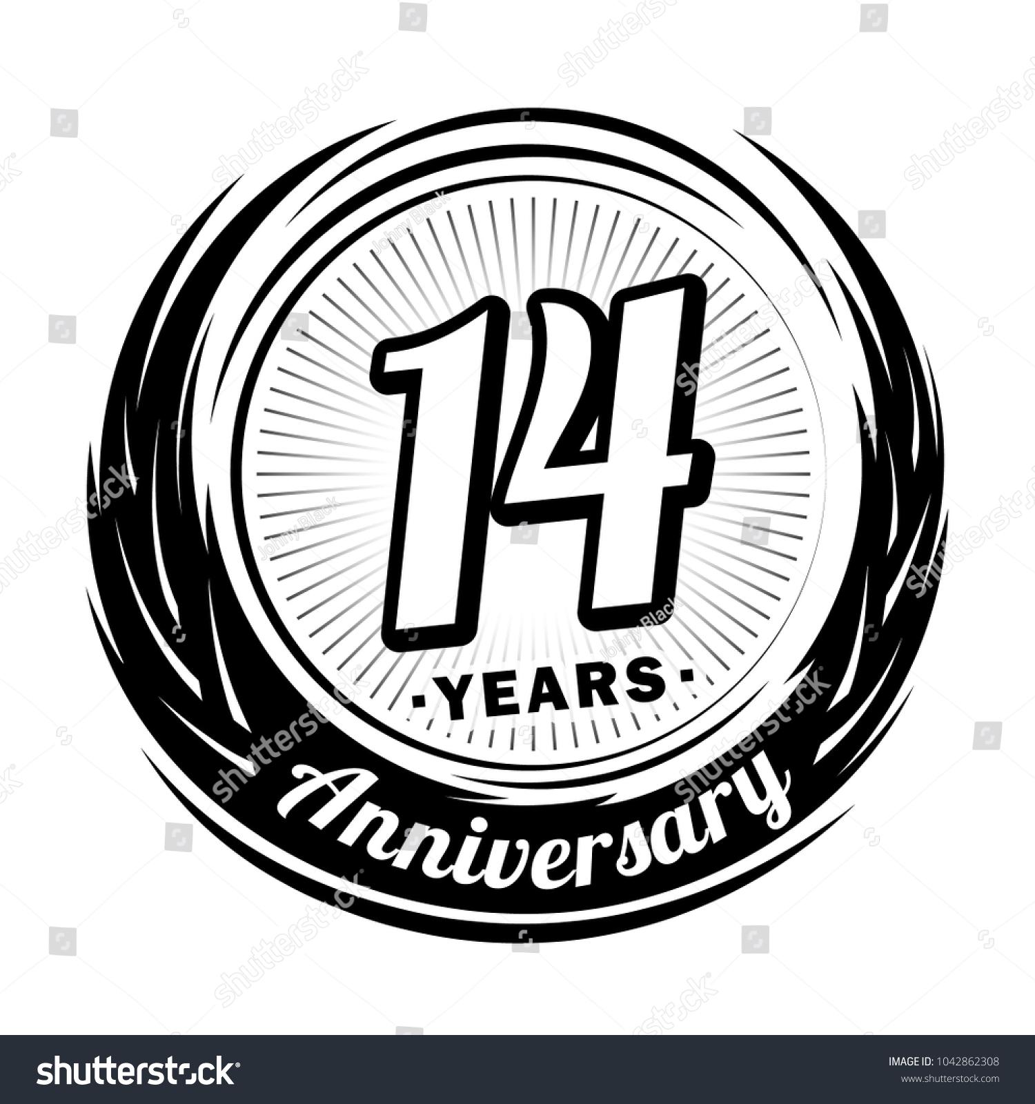 14 Years Anniversary Anniversary Logo Design Stock Vector Royalty