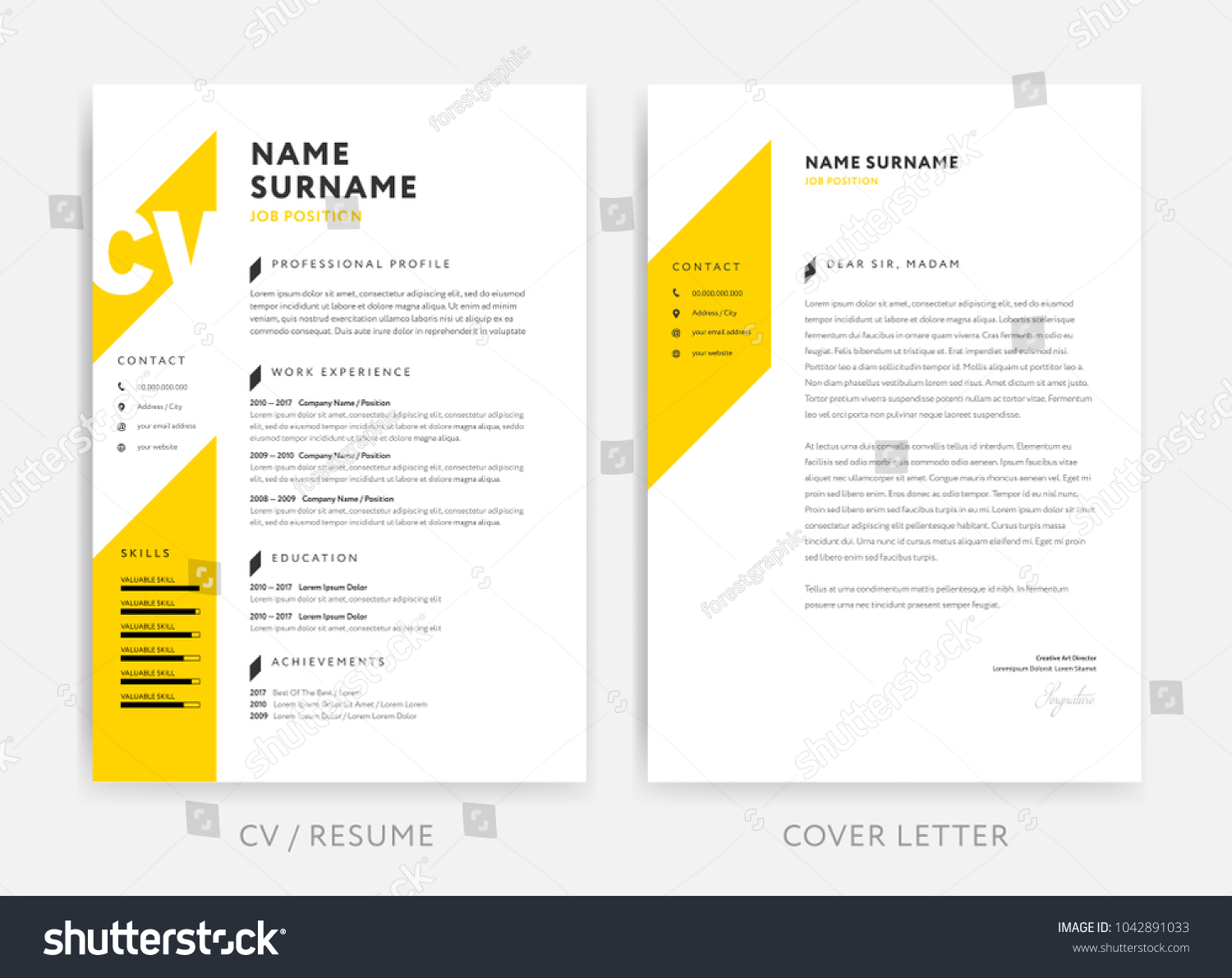 Yellow Cv Curriculum Vitae Cover Letter Stock Vector