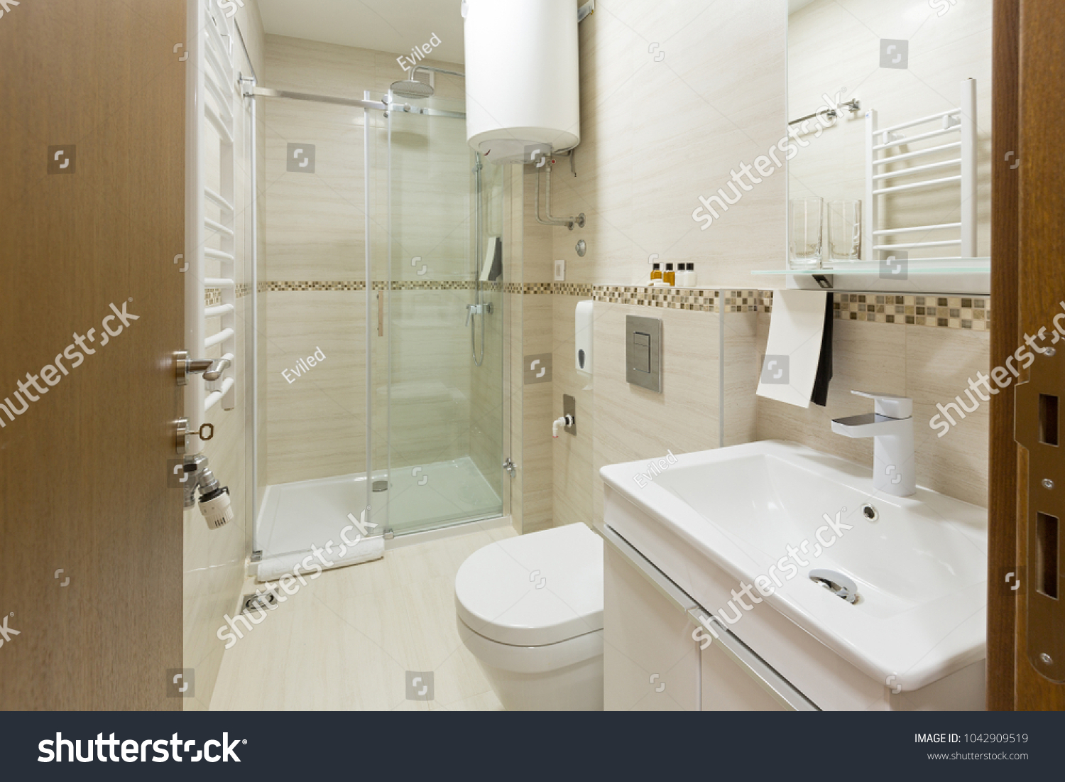 Interior of a hotel bathroom with shower cabin | EZ Canvas