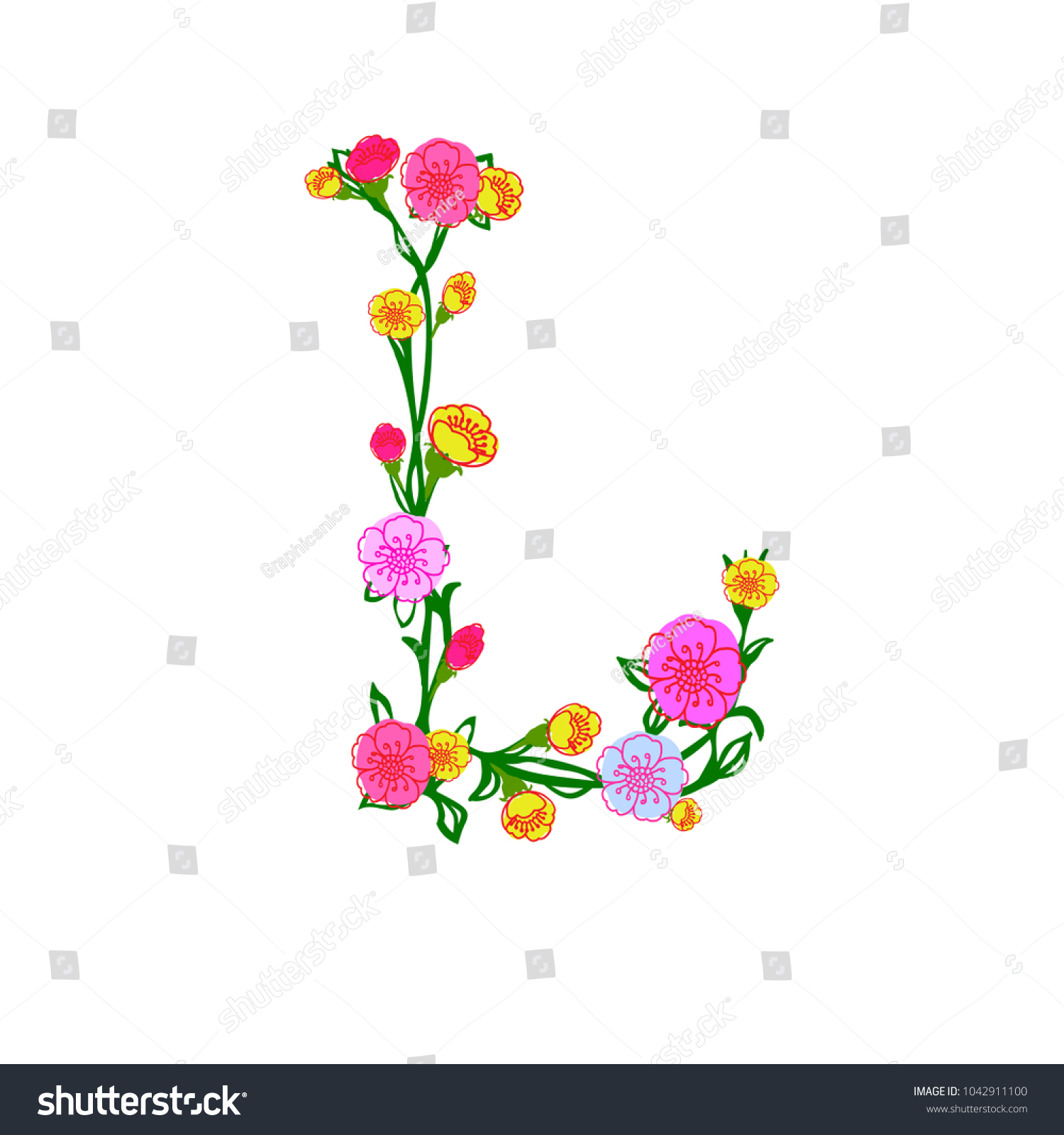 Royalty Free Stock Illustration Of Cute Colorful Floral Alphabet