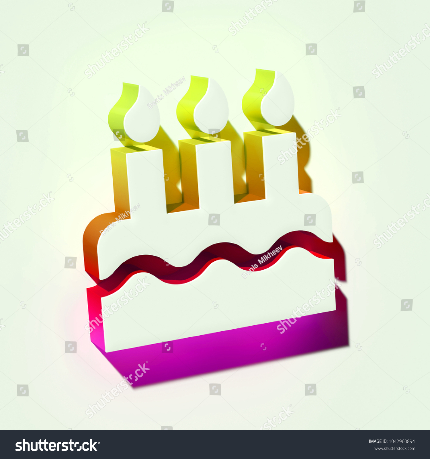 White Birthday Cake Icon 3 D Illustration Stock Illustration