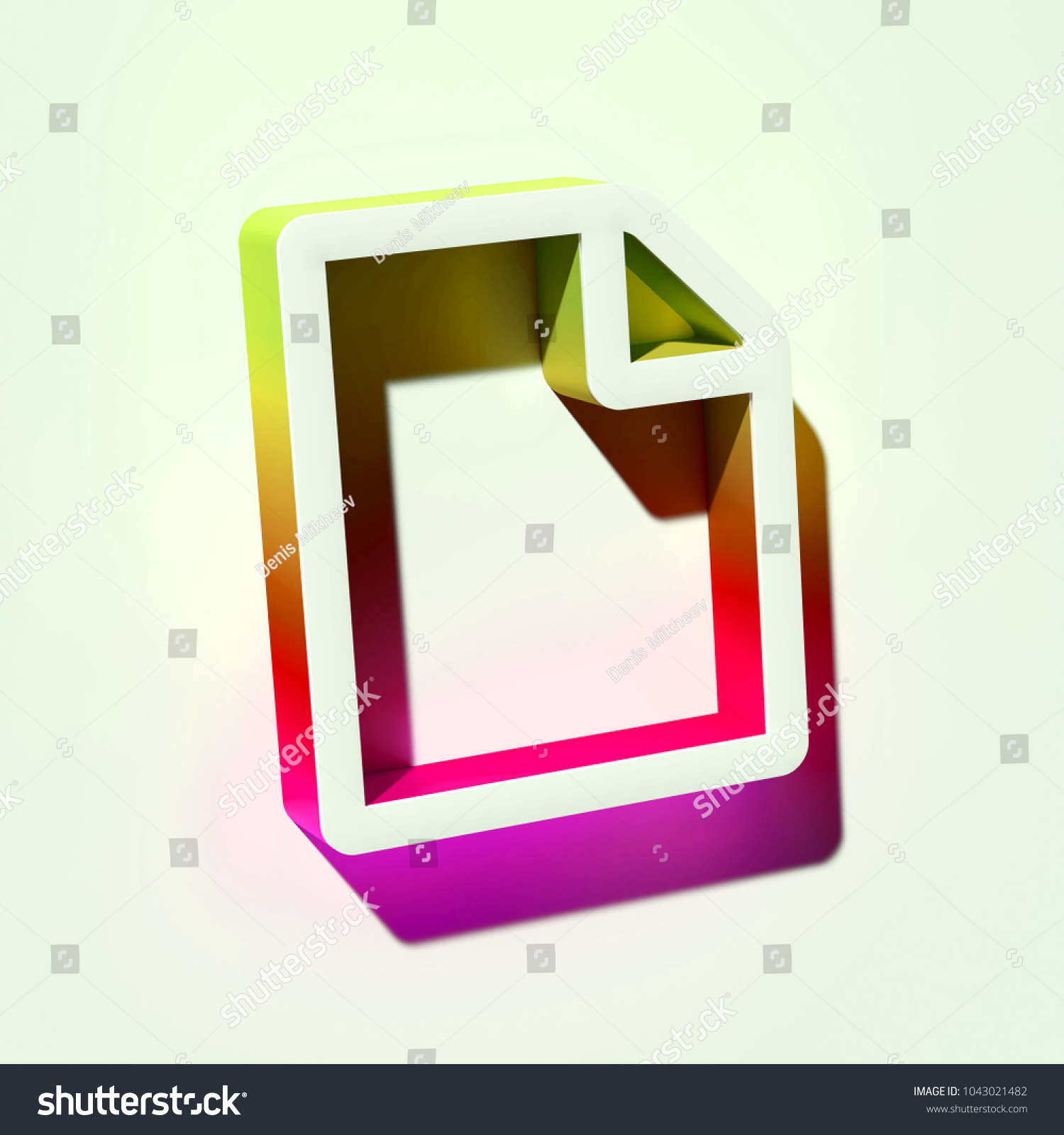 White File Icon 3 D Illustration White Stock Illustration 1043021482