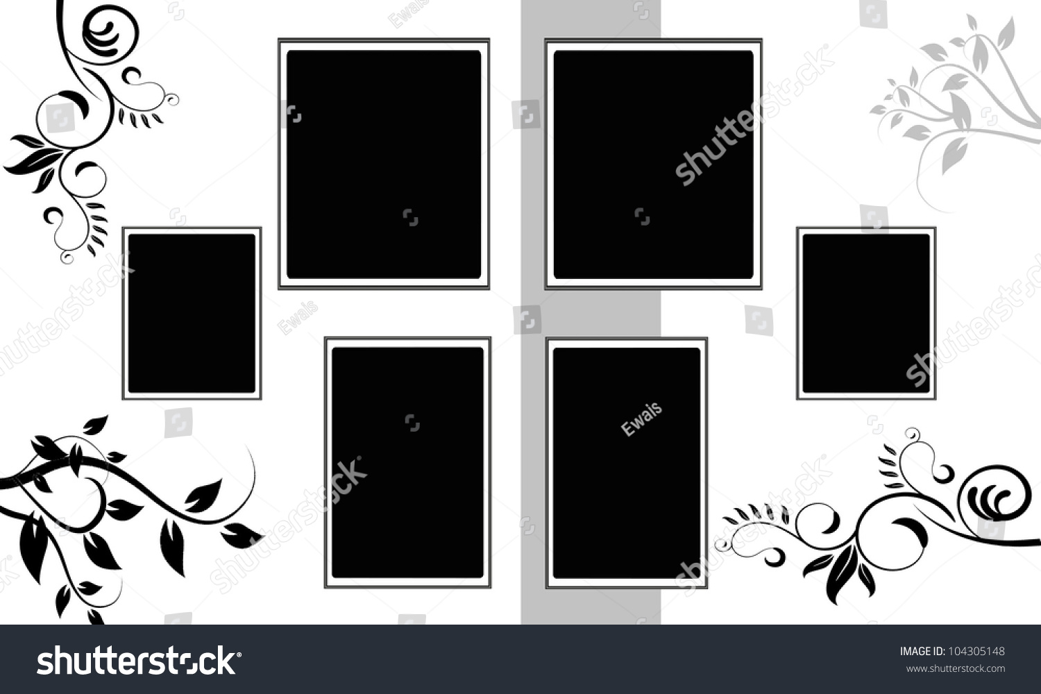 Blank Wedding Photo Frame Floral Card Stock Vector Royalty Free