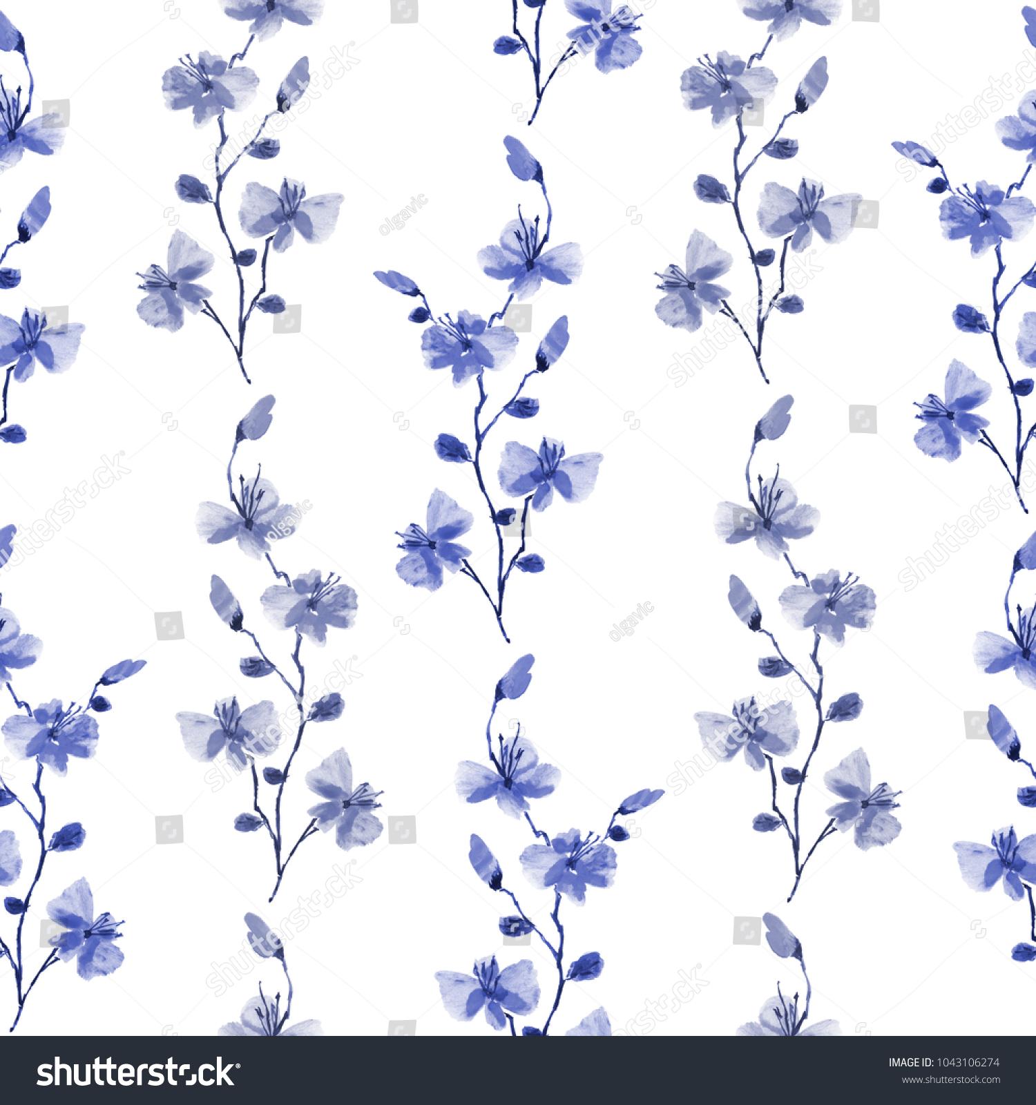 Seamless Pattern Small Wild Blue Gray Stock Illustration 1043106274
