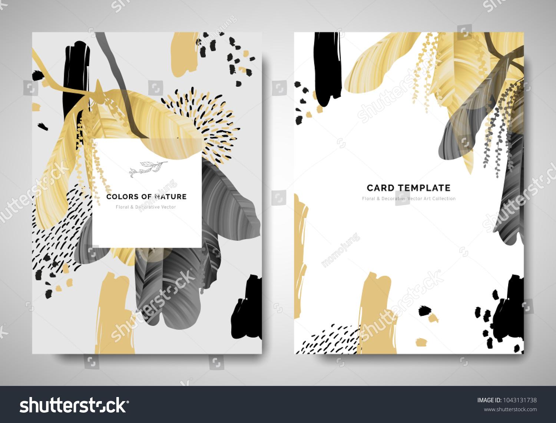 greenery greetinginvitation card template design leaves のベクター