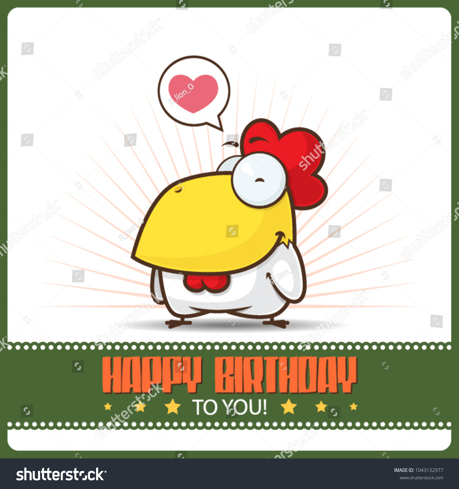Funny happy birthday greeting card cartoon stock vector 1043132977 funny happy birthday greeting card with cartoon rooster character kristyandbryce Images
