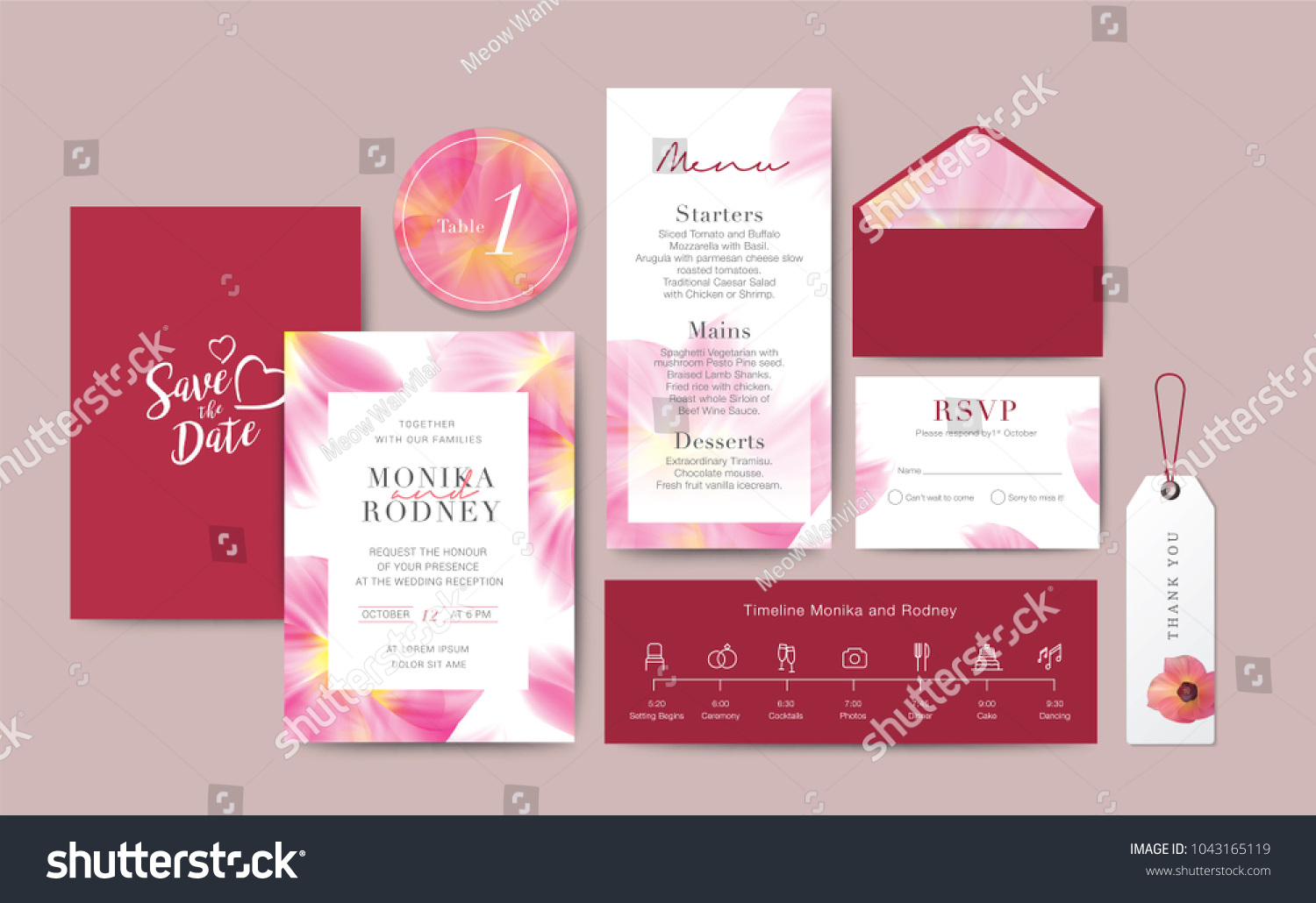 Set Wedding Card Template Background Invitation Stock Vector ...