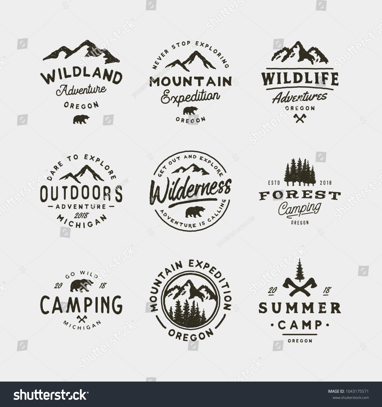 set of vintage wilderness logos. hand drawn retro styled outdoor adventure emblems, badges, design elements, logotype templates. vector illustration #1043175571