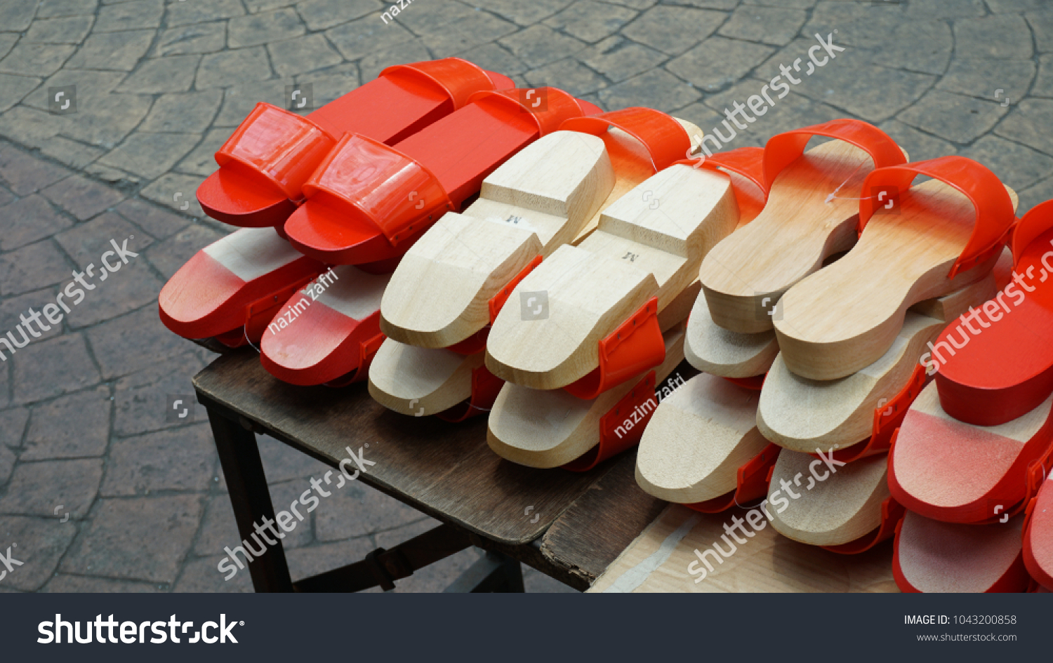 Chinese Wooden Clogs Market Stock Photo