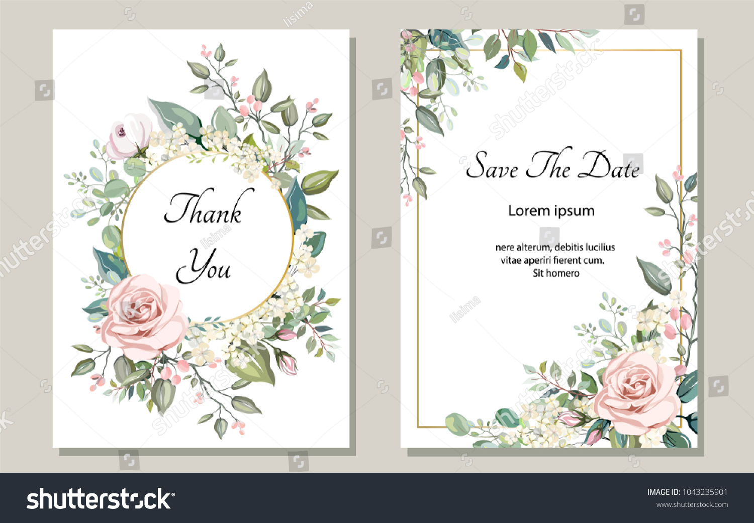 Set of card with flower rose, leaves. Wedding ornament concept. Floral poster, invite. Vector decorative greeting card or invitation design background #1043235901
