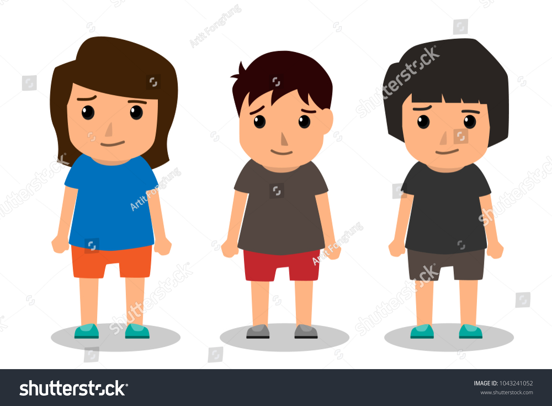 Kids Vector Characters Boys Girls Set Stock Vector Royalty Free