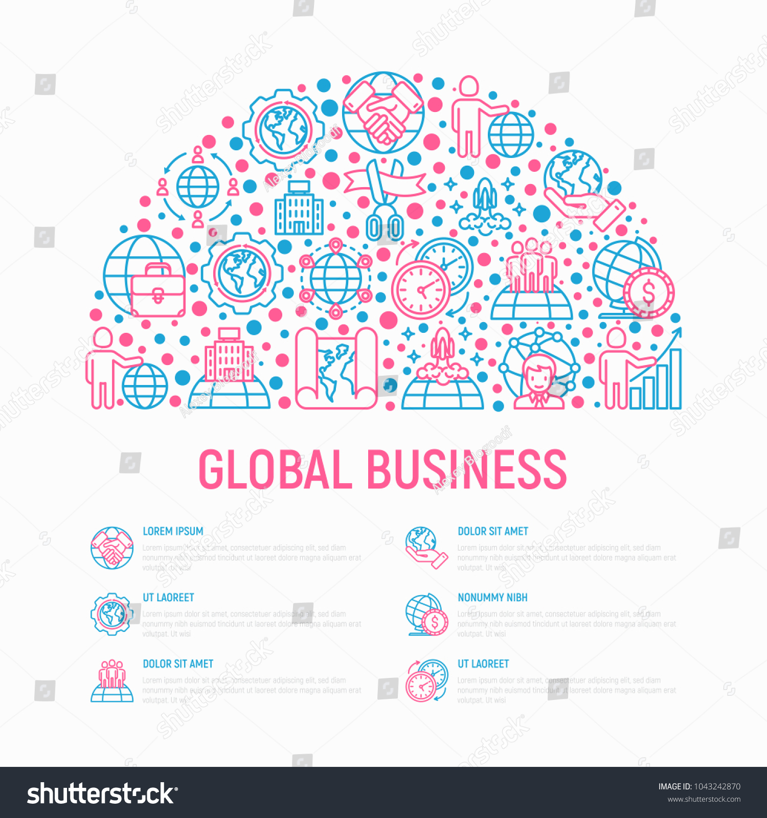 Global Business Concept Half Circle Thin Stock Vector 1043242870