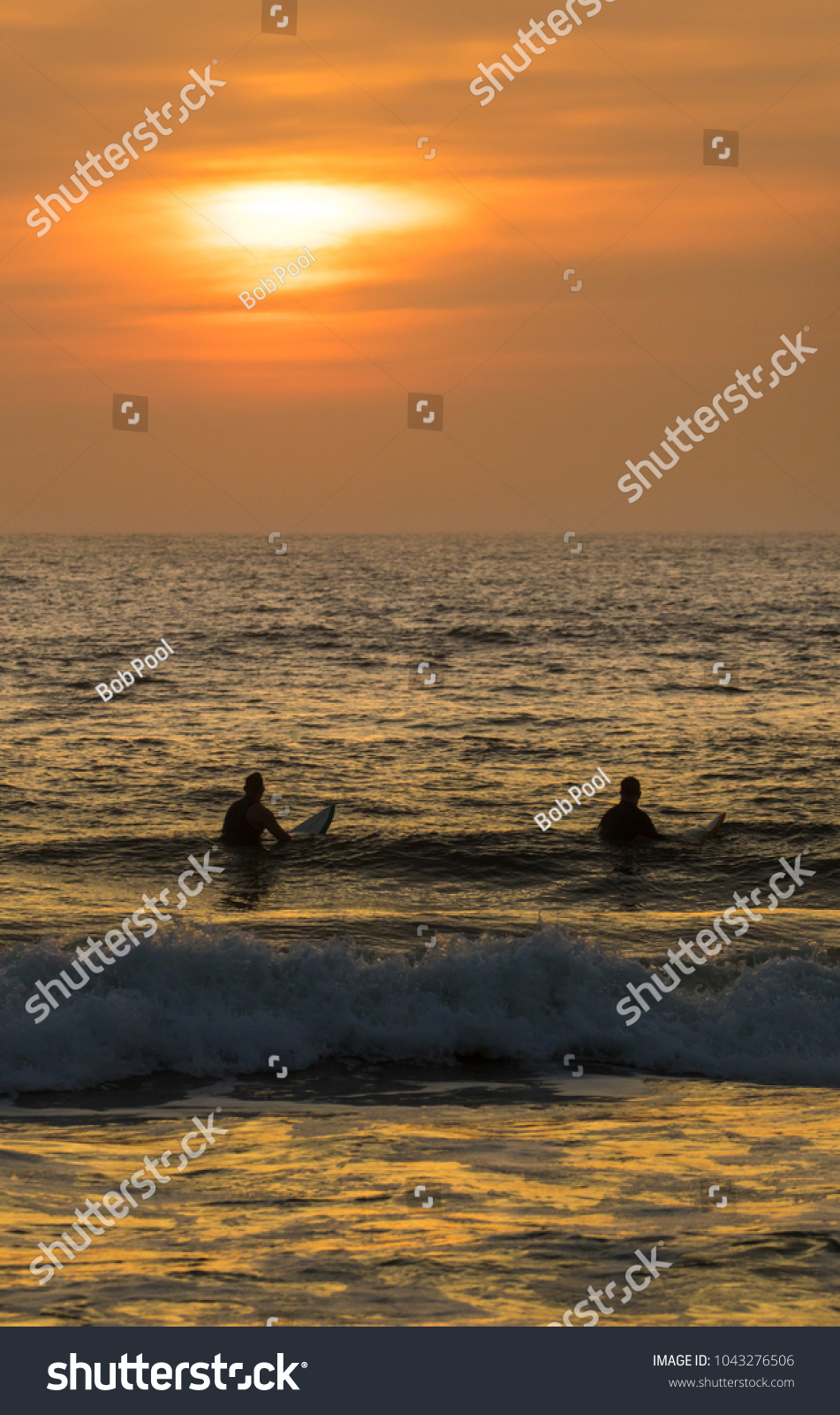 Sunrise Over The Atlantic Ocean At St Augustine Beach In Florida Two Surfer Wait For A Big Wave Ez Canvas