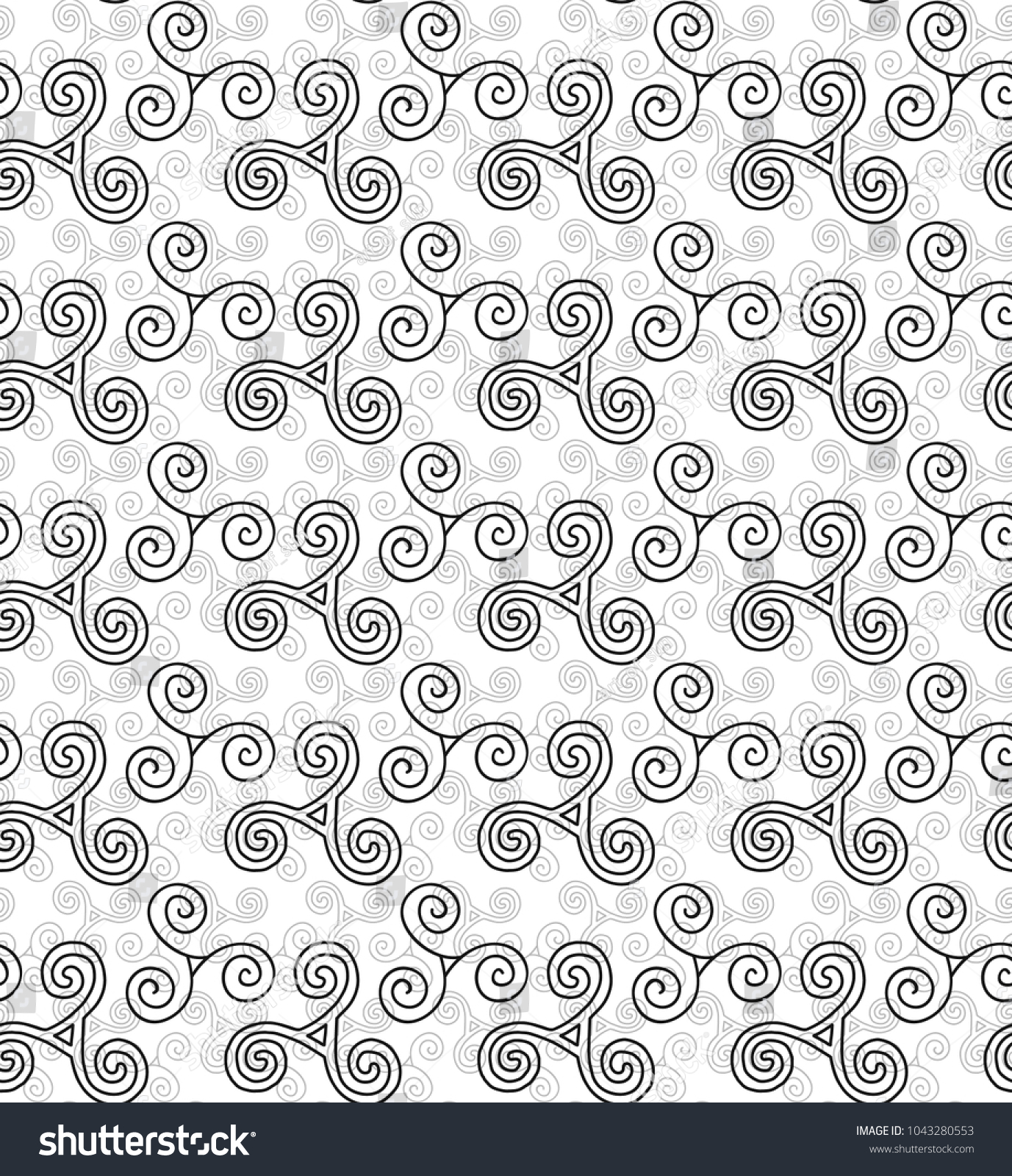 Hand drawn celtic symbols triskele vector stock vector 1043280553 hand drawn celtic symbols triskele vector seamless pattern buycottarizona Images