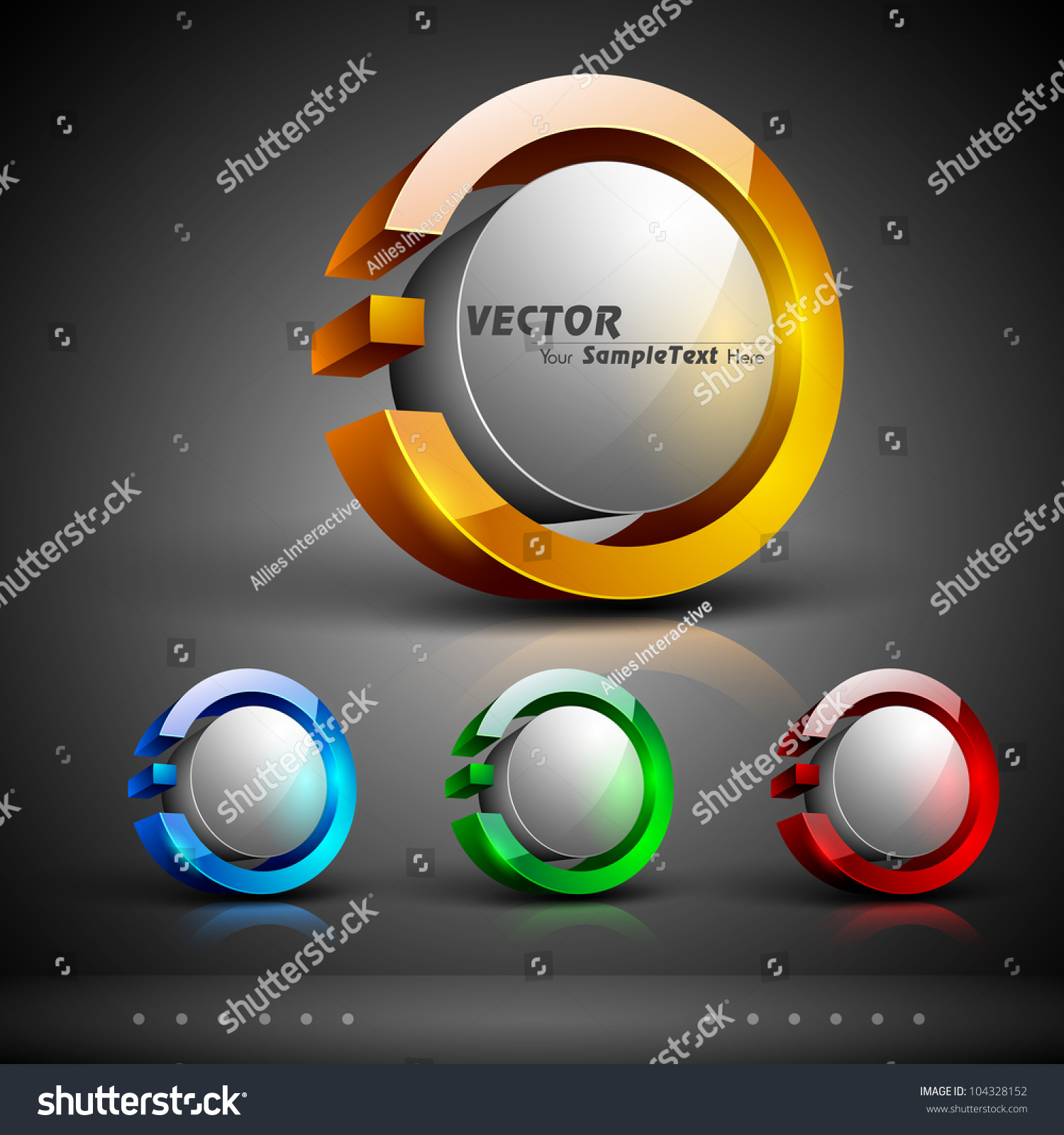 Abstract 3d Glossy Icon Sets Yellow Stock Vector 104328152 ...