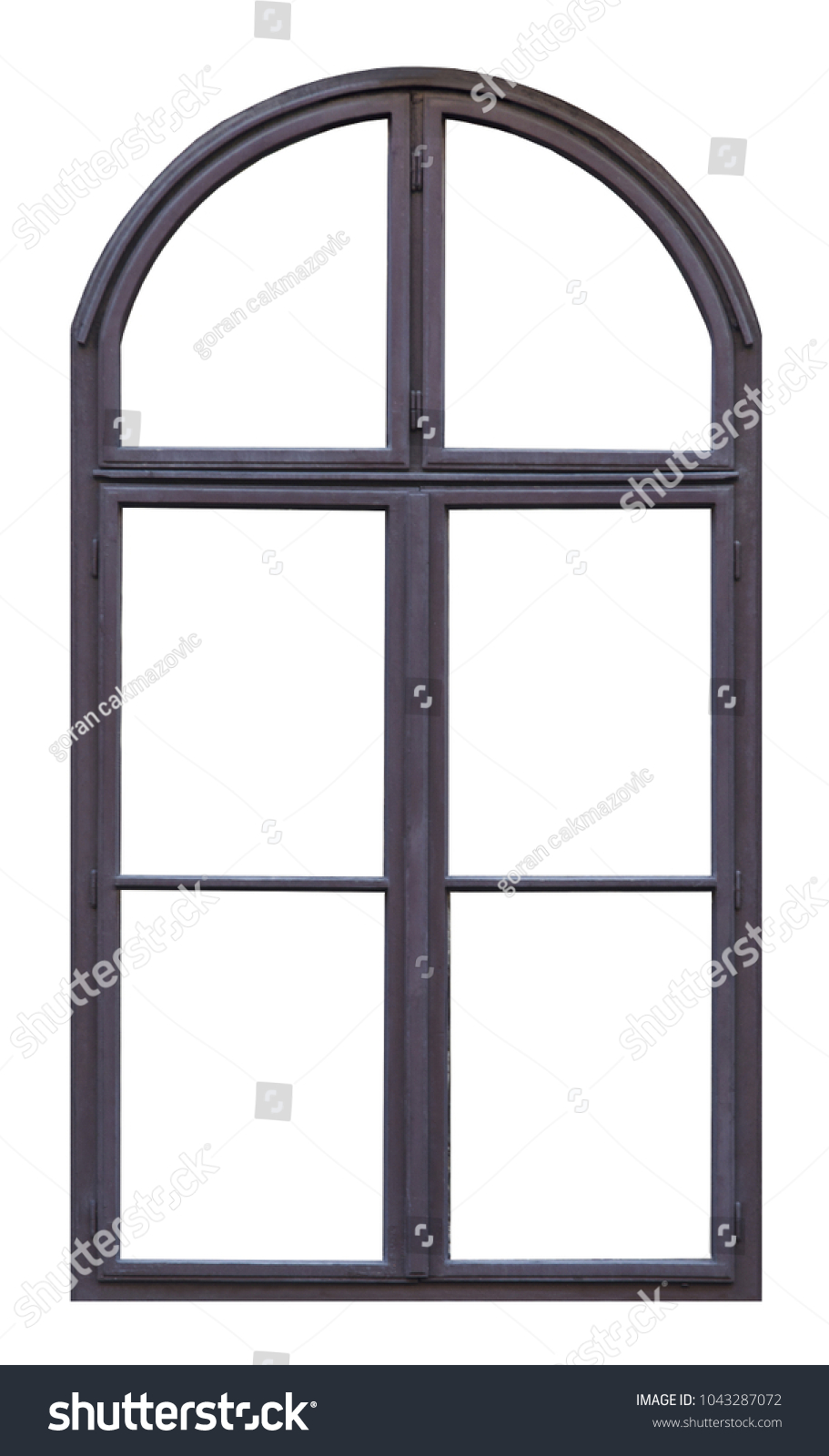 Old Brown Wooden Window Arch Six Stock Photo (Edit Now) 1043287072 ...