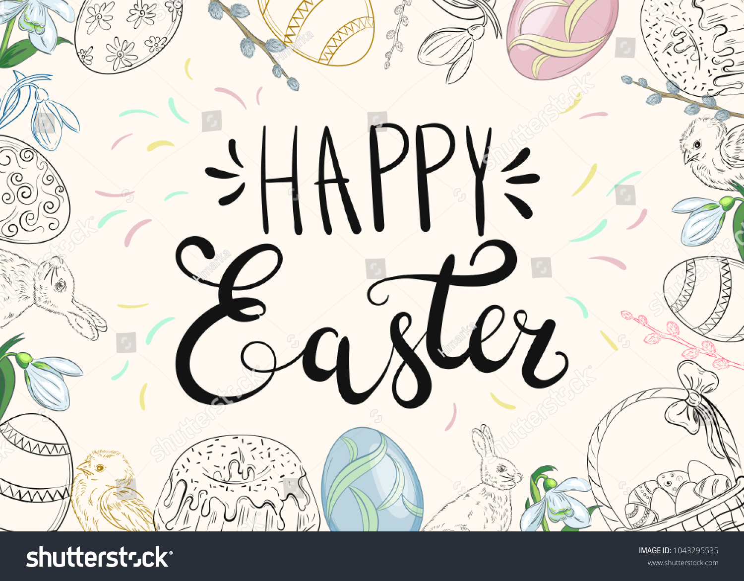Easter background traditional decorations easter greeting stock easter background with traditional decorations easter greeting with colored eggs festive cake rabbit m4hsunfo Images
