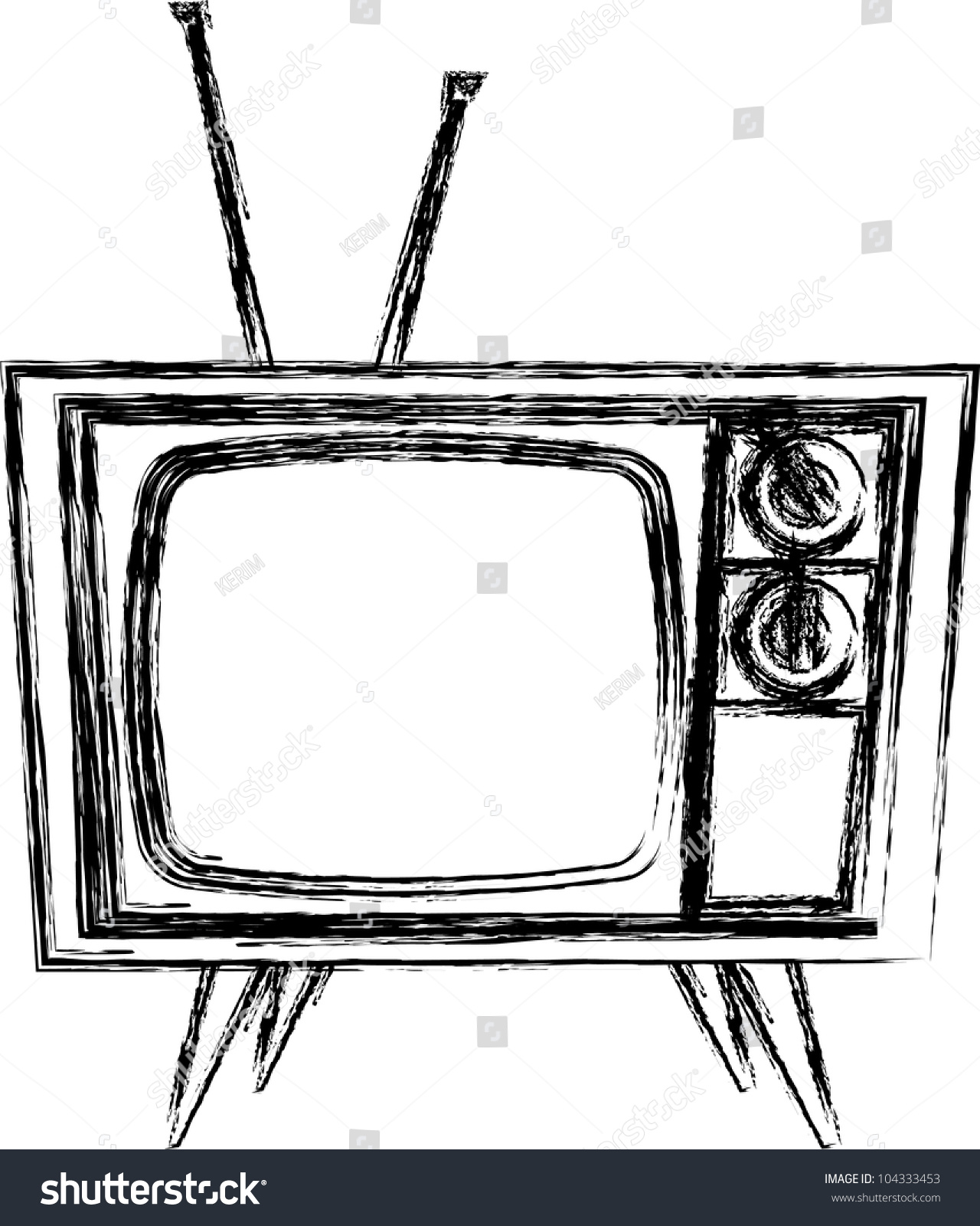 tv drawing. sketch style retro tv tv drawing