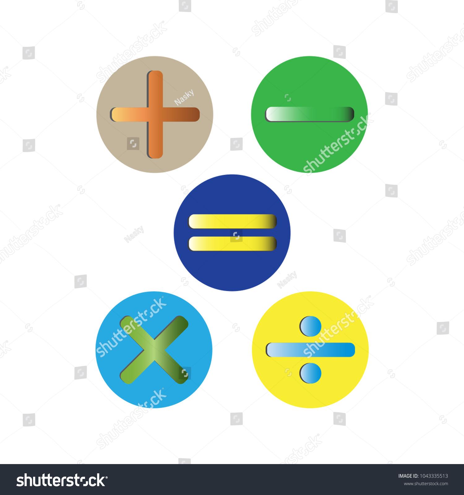 Basic Mathematical Symbols Plus Minus Multiplication Stock Vector