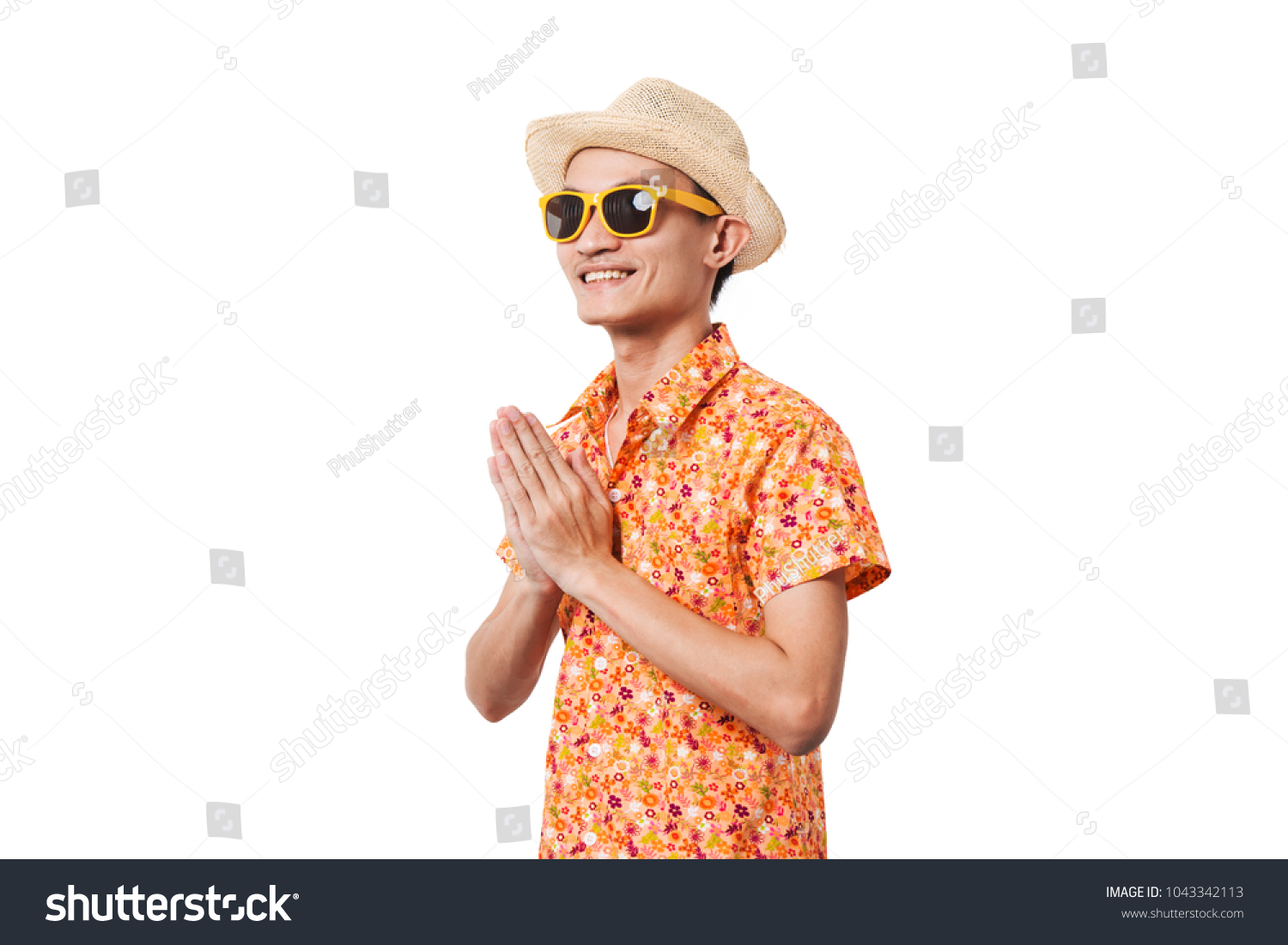 Young Man Songkran Thailand Costume Greeting Stock Photo Edit Now
