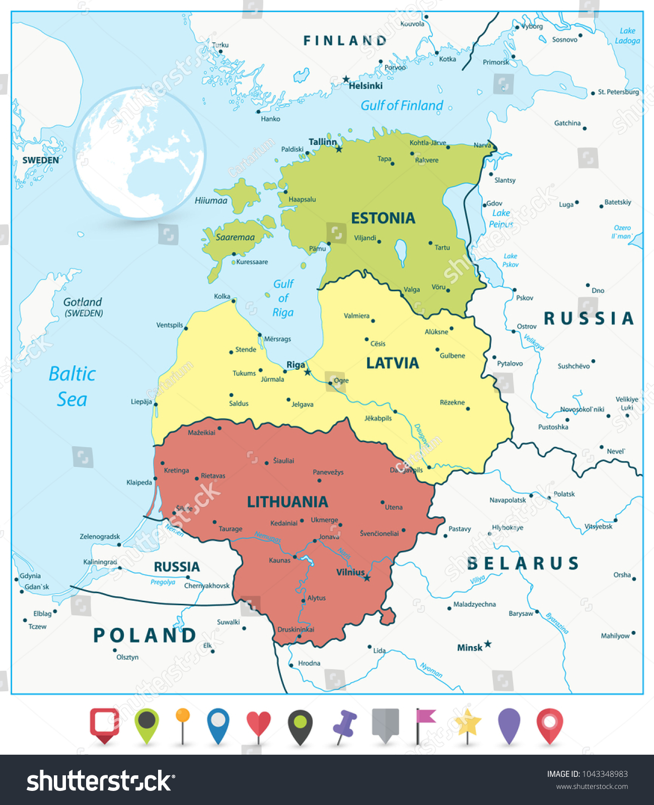 Political Map Baltic States Flat Map Stock Vector (Royalty Free ...