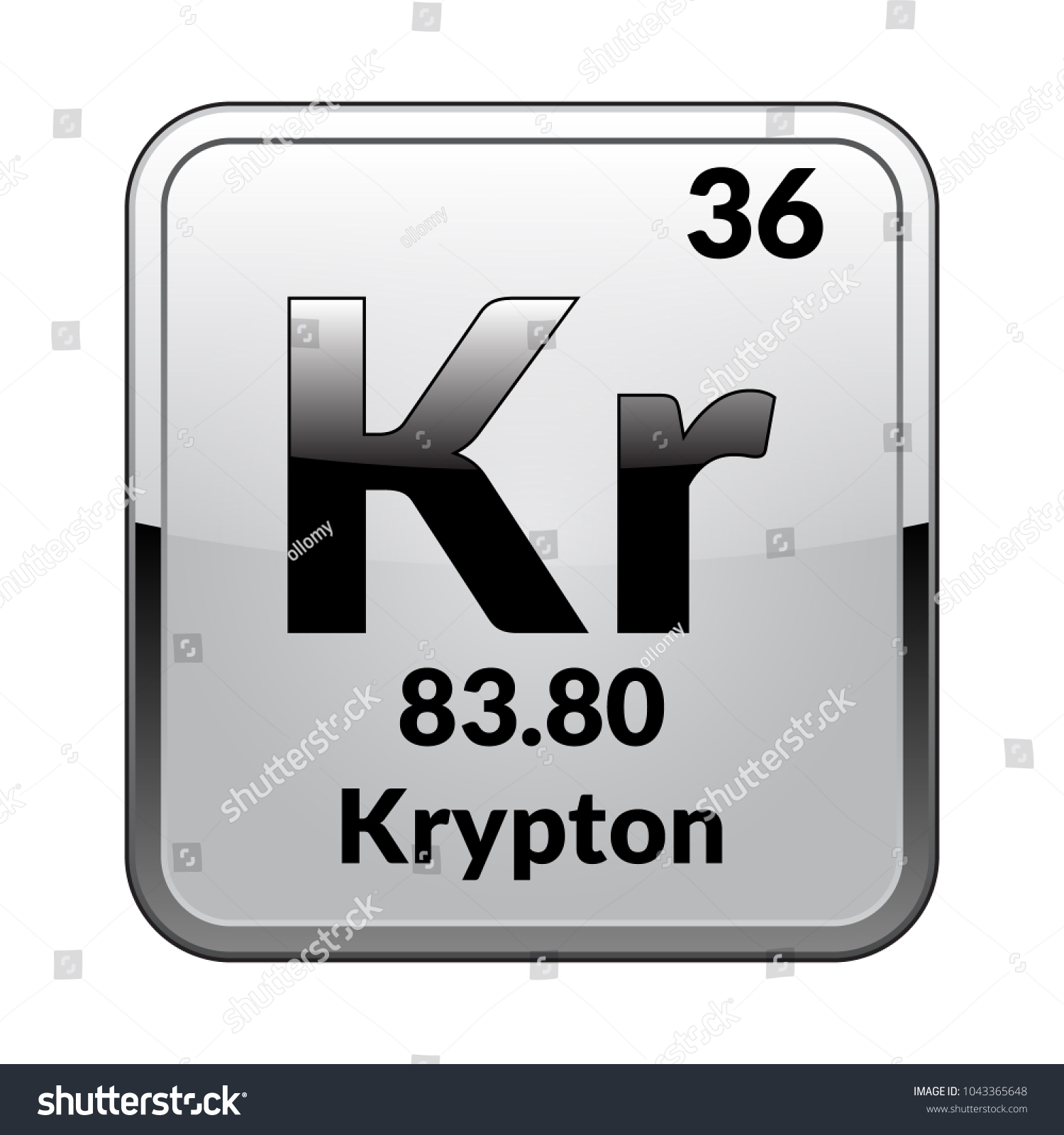 Krypton symbol chemical element periodic table on stock vector krypton symbolemical element of the periodic table on a glossy white background in a urtaz Choice Image