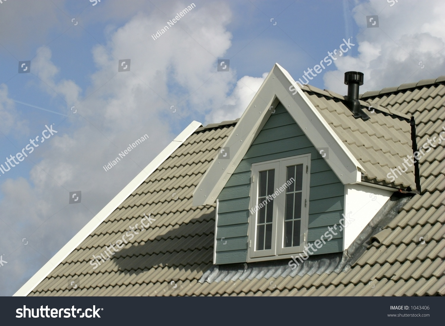 Gray Roof On Houseamerican Style Stock Photo 1043406