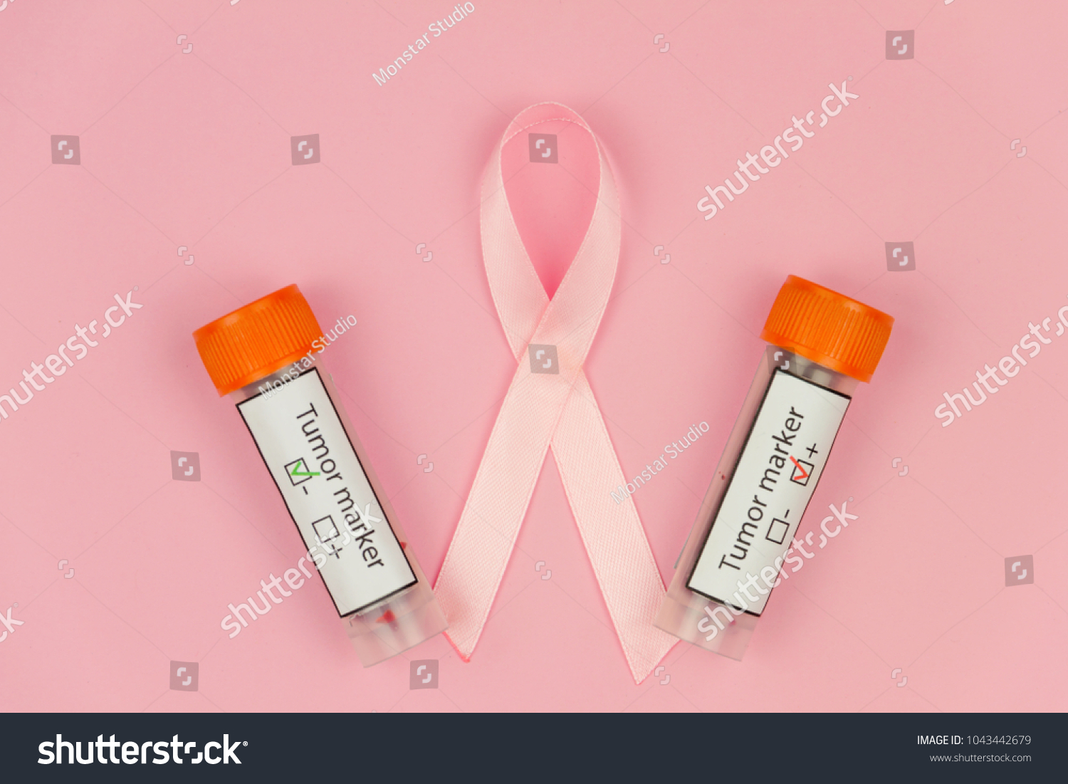 Pink tape symbol womens illness mammary stock photo 1043442679 pink tape as symbol of womens illness mammary cancer with blood test tubes on pink background biocorpaavc Image collections