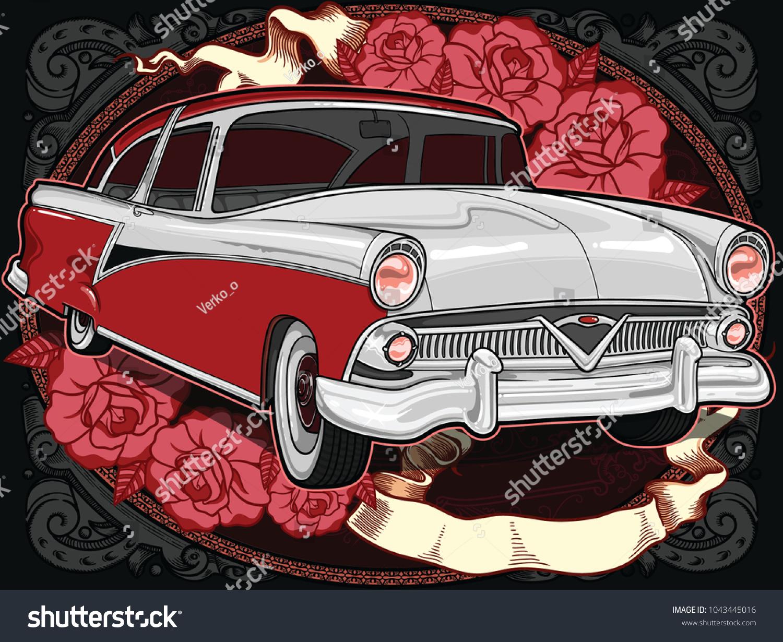 Retro Vintage Vector 60 S 50 S Automobile Stock Vector 1043445016 ...