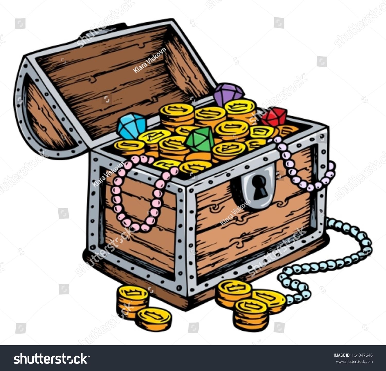 Treasure Chest Drawing Vector Illustration Stock Vector 104347646 ...