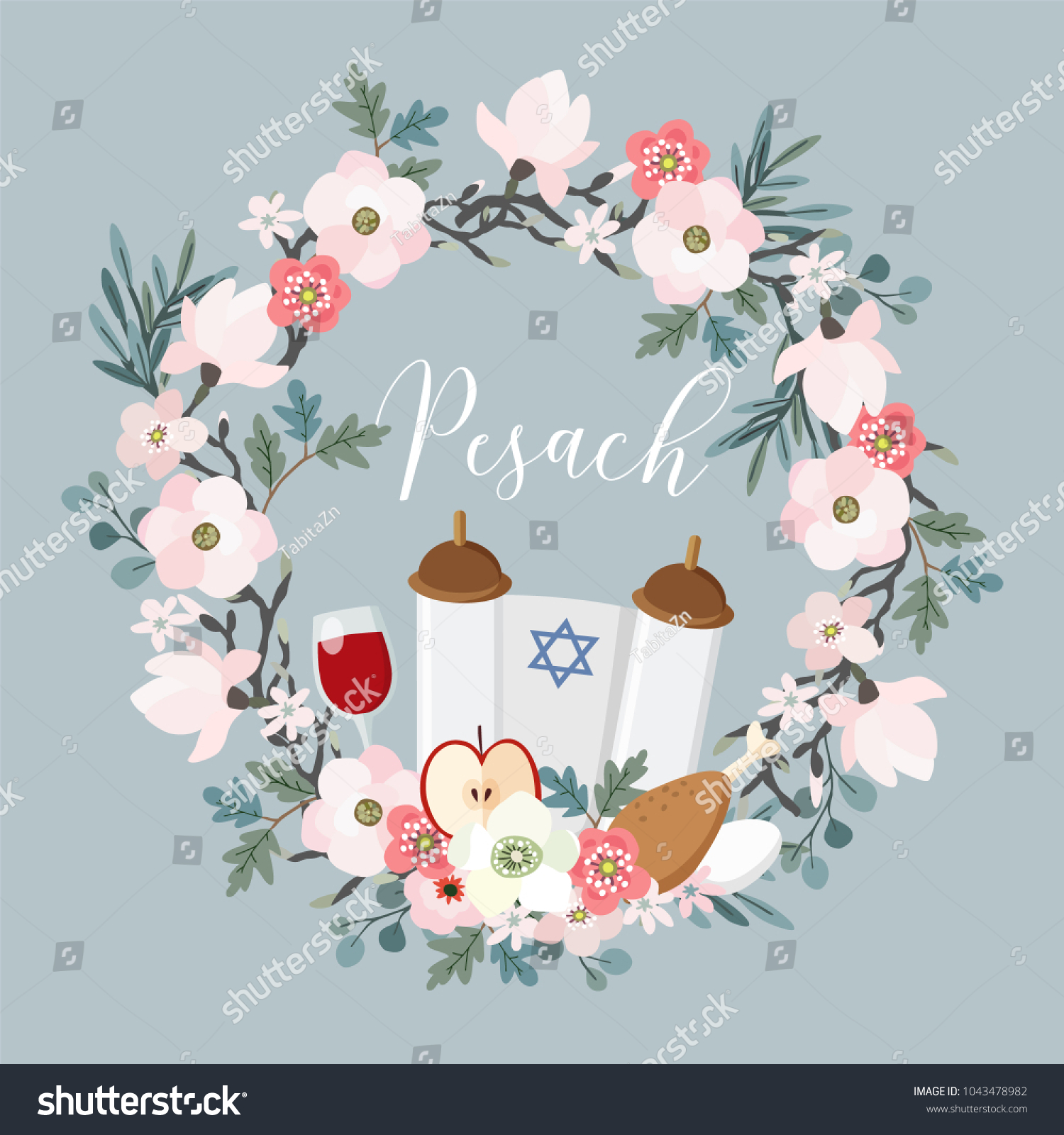 Pesach passover greeting card hand drawn stock vector royalty free pesach passover greeting card hand drawn floral wreath with torah jewish star m4hsunfo