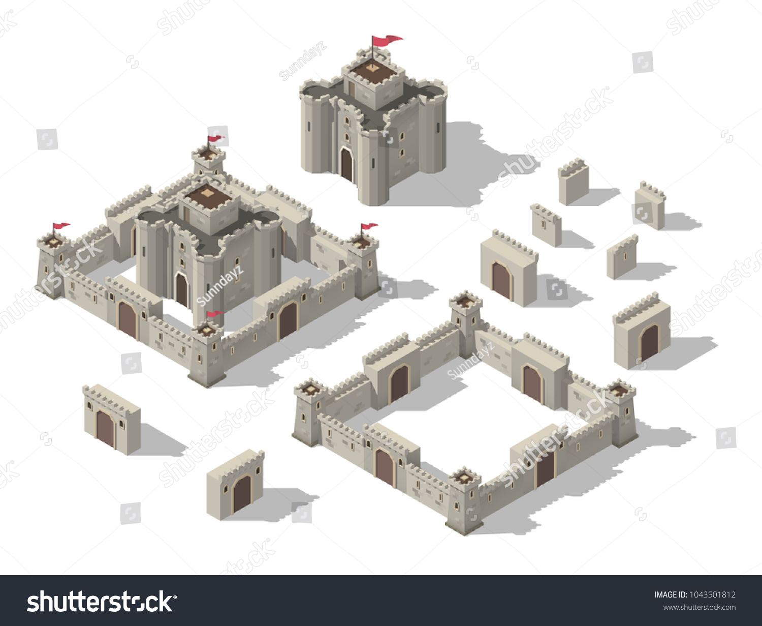 Vector isometric set of medieval castle with walls, gates and towers. Concept of game fortress.
